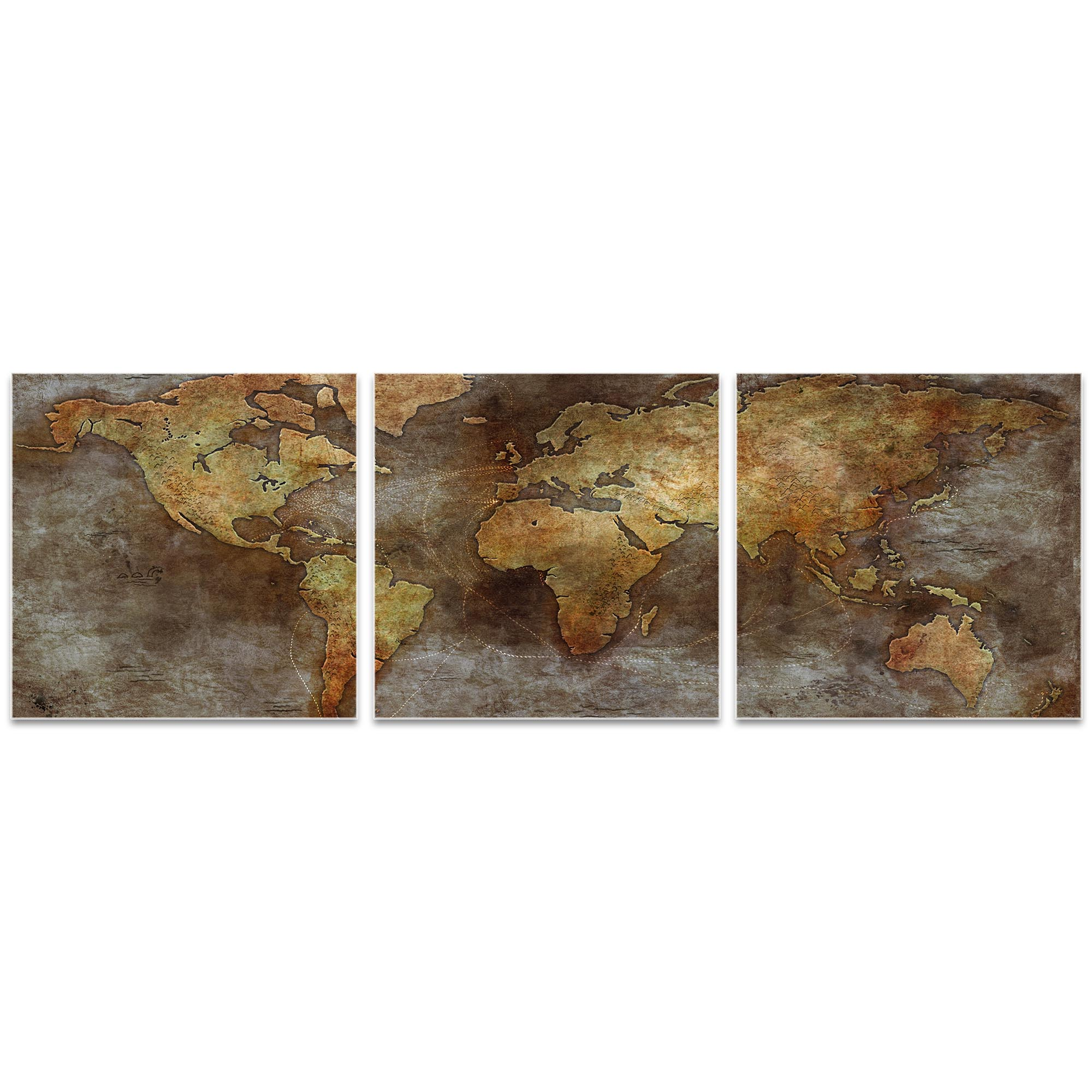 1800s Trade Routes Map Triptych 38x12in. Metal or Acrylic Colonial Decor - Image 2