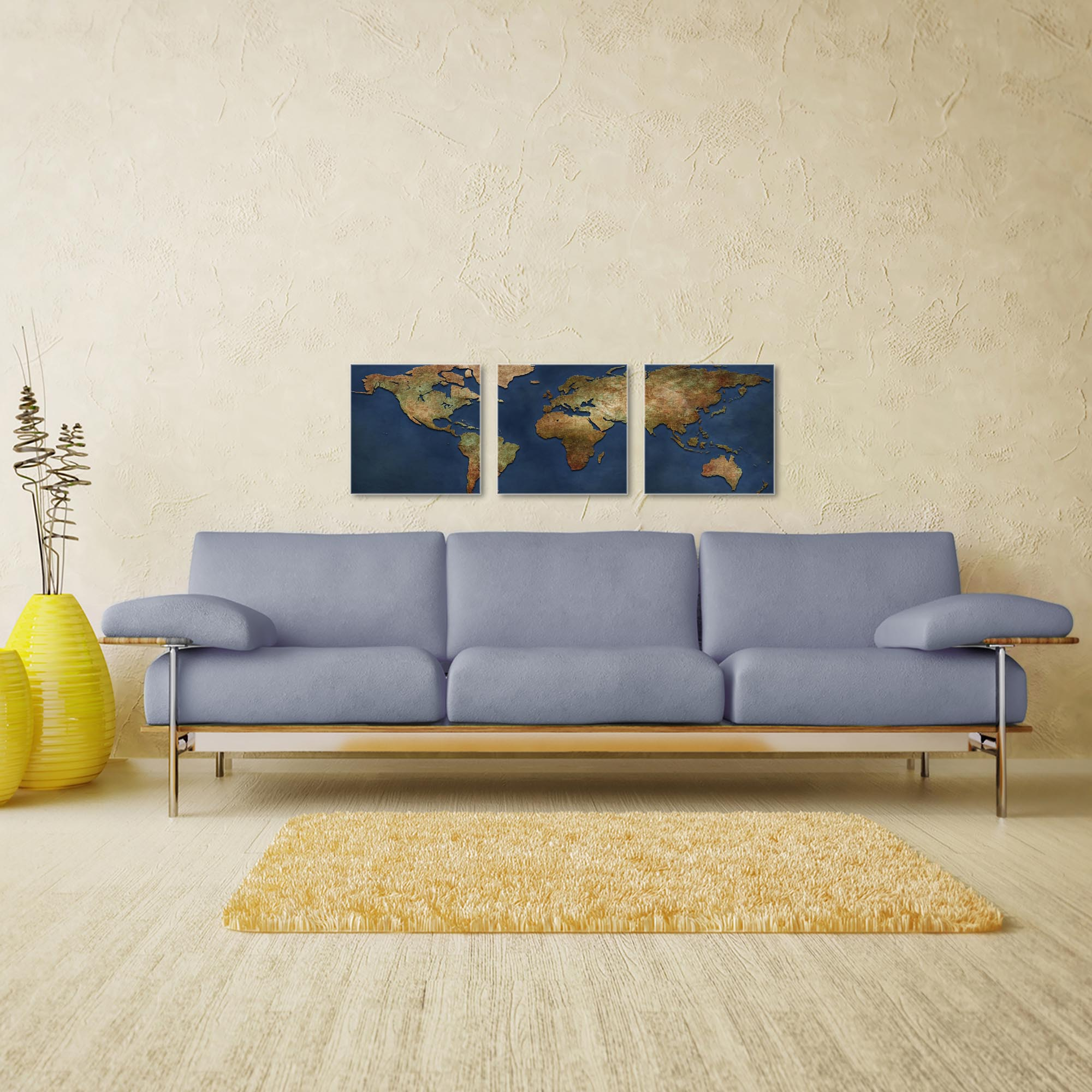 1800s World Map Triptych 38x12in. Metal or Acrylic Colonial Decor - Image 3