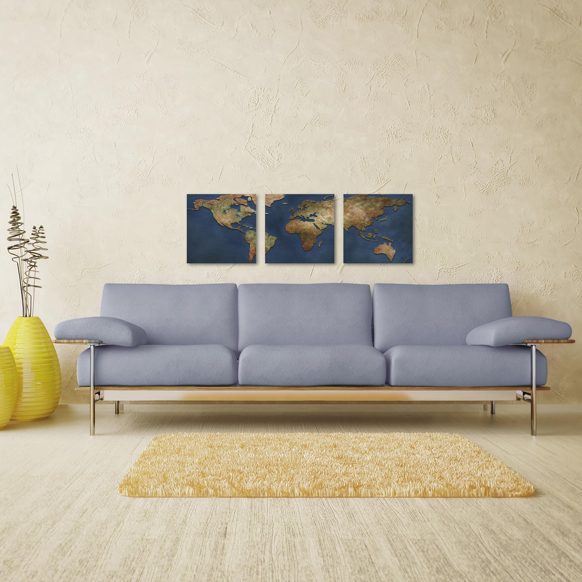 1800s World Map Triptych 38x12in. Metal or Acrylic Colonial Decor - Lifestyle View