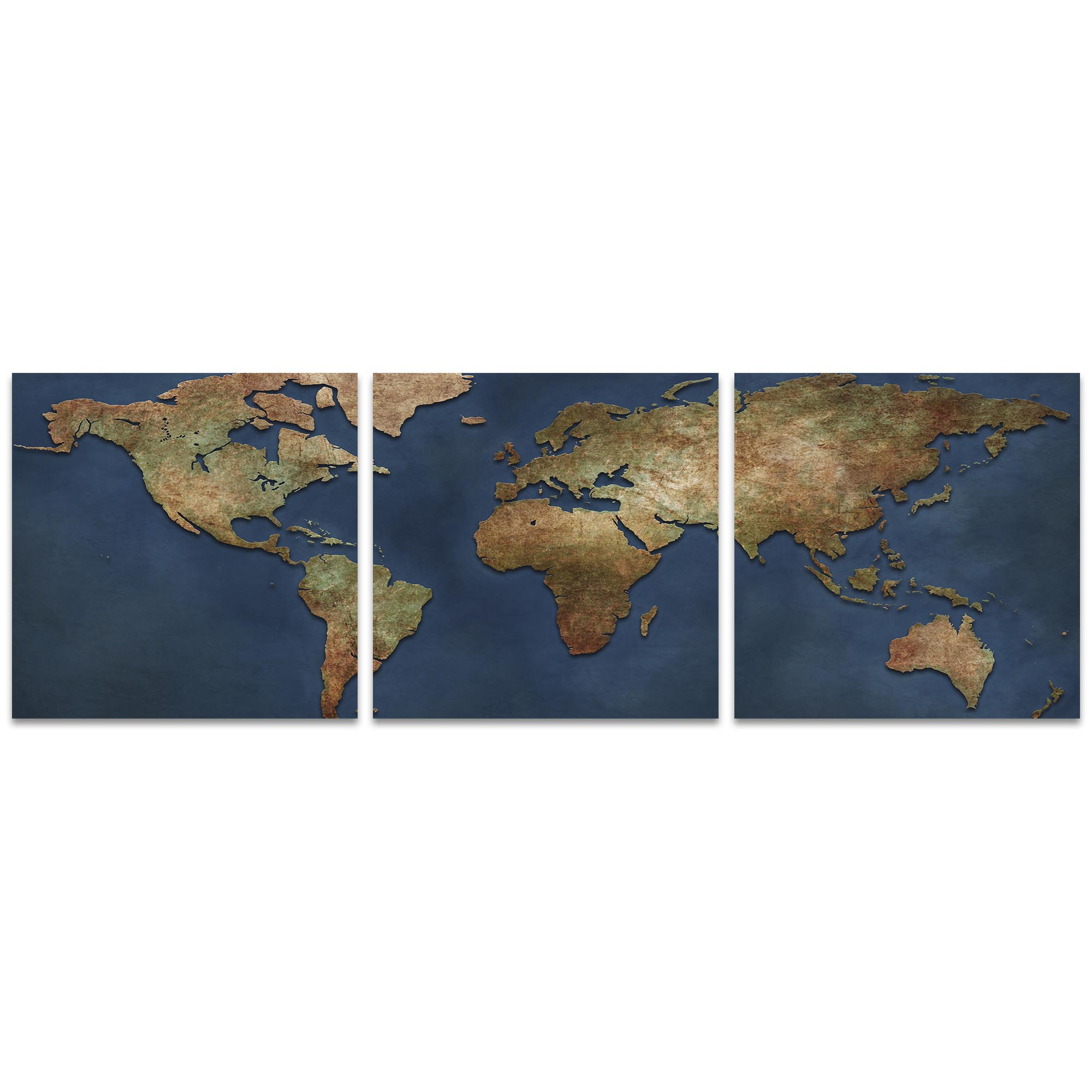 1800s World Map Triptych 38x12in. Metal or Acrylic Colonial Decor