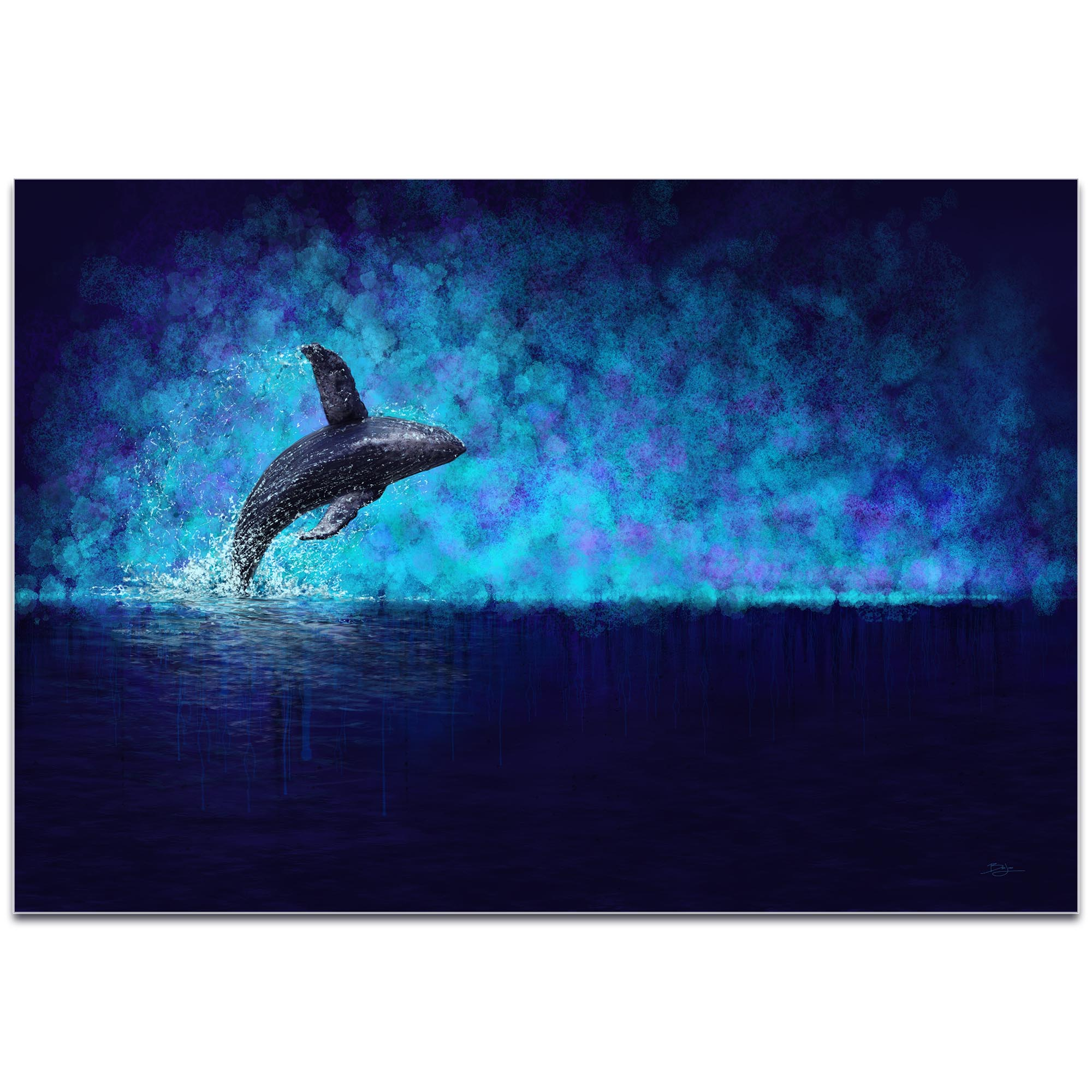 Whale Painting 'Breaching the Night' - Humpback Art on Metal or Acrylic - Image 2