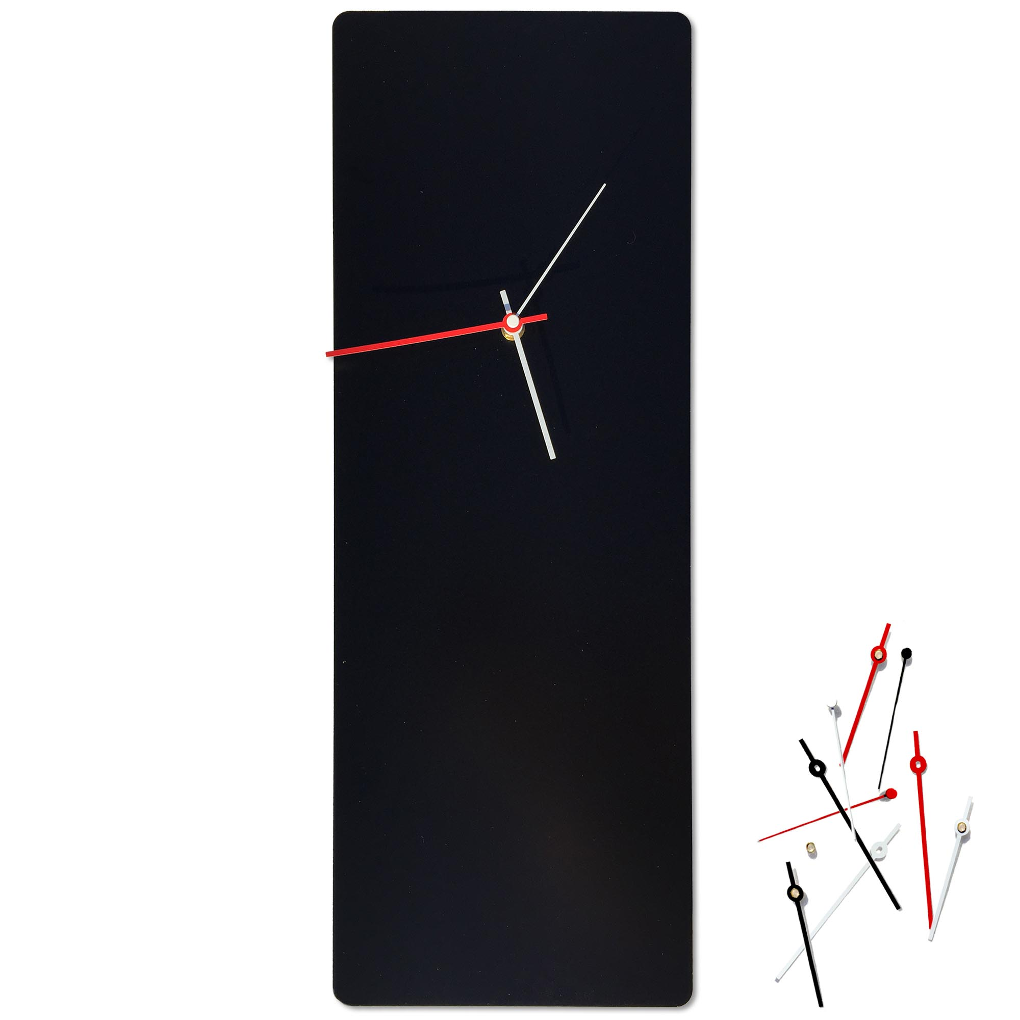 Metal Art Studio Minimalistic Decor Black Mod Clock Large 8.25in x 22in