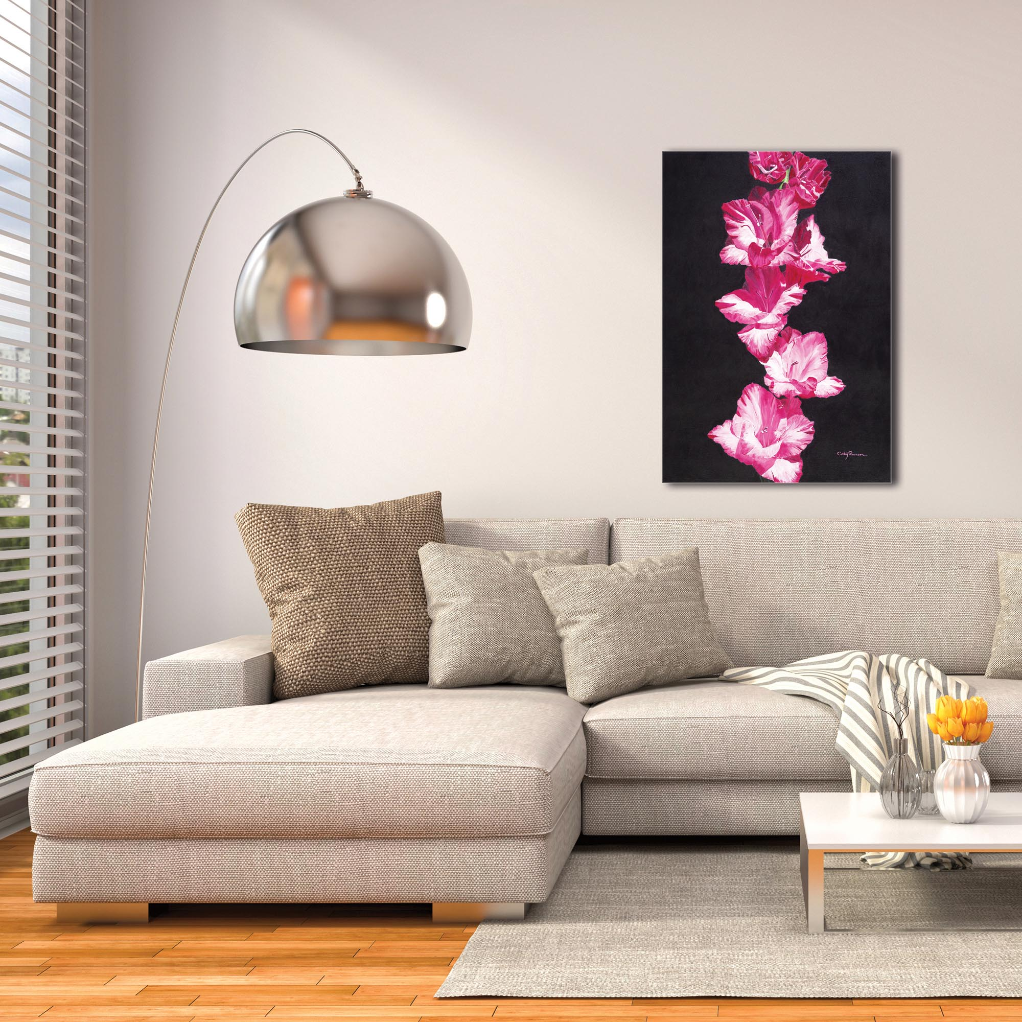 Traditional Wall Art 'Bright Pink Glads' - Floral Decor on Metal or Plexiglass - Image 3