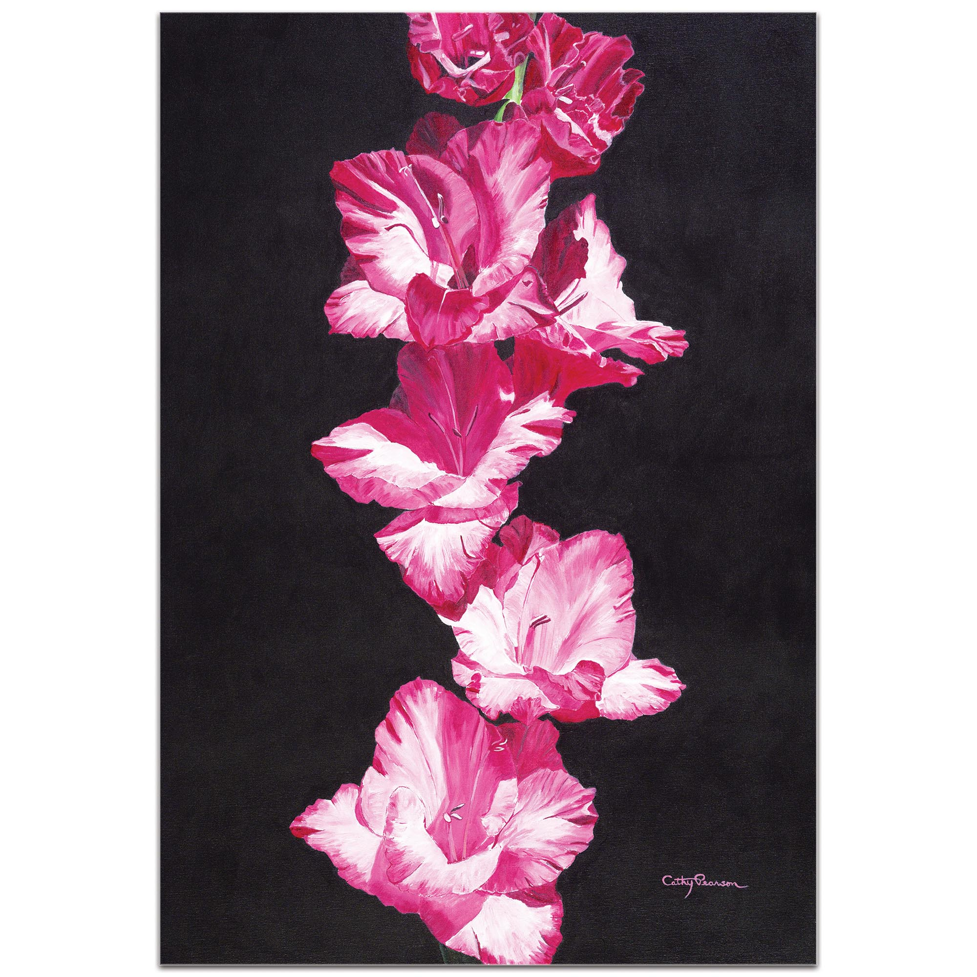 Traditional Wall Art 'Bright Pink Glads' - Floral Decor on Metal or Plexiglass - Image 2
