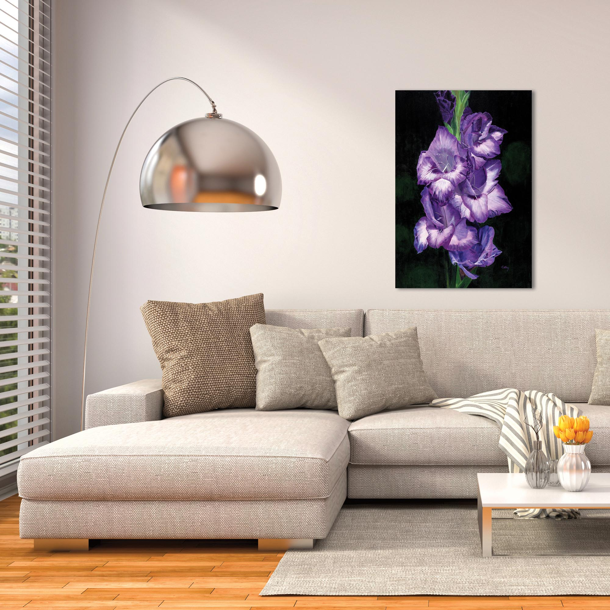 Traditional Wall Art 'Deep Purple Glads' - Floral Decor on Metal or Plexiglass - Lifestyle View