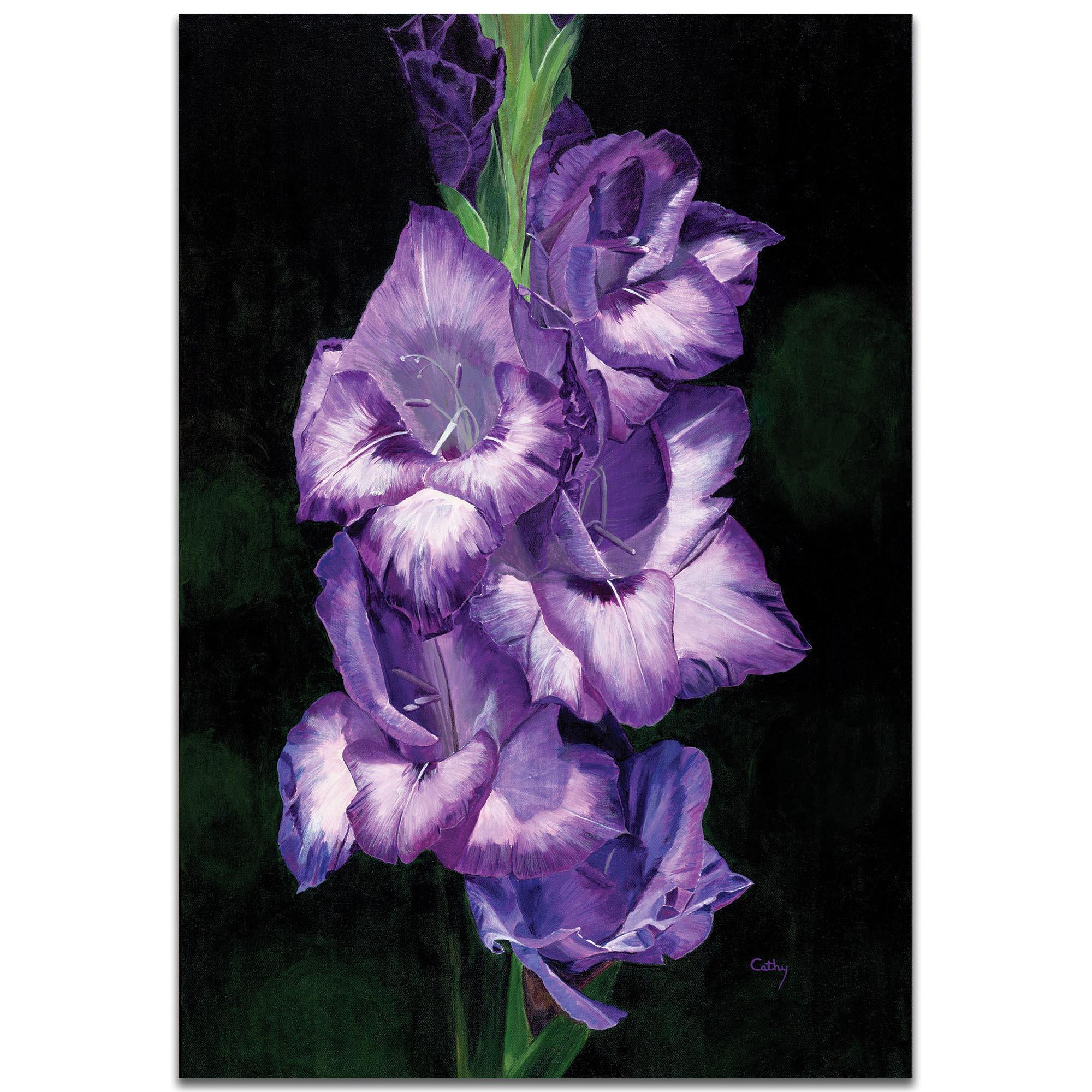 Traditional Wall Art 'Deep Purple Glads' - Floral Decor on Metal or Plexiglass