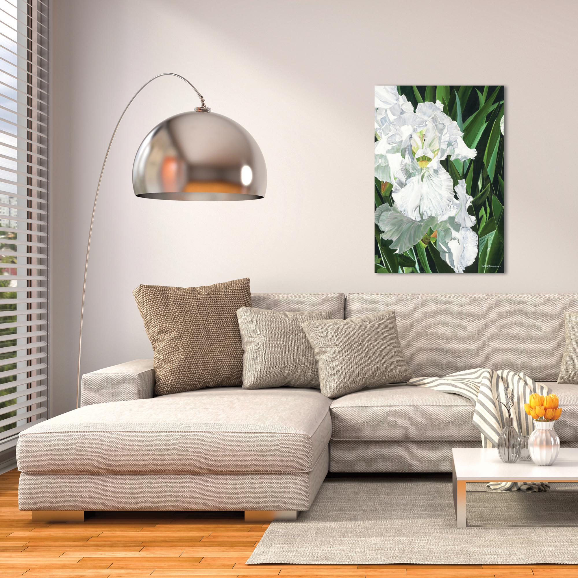 Traditional Wall Art 'Helens Iris' - Floral Decor on Metal or Plexiglass - Lifestyle View