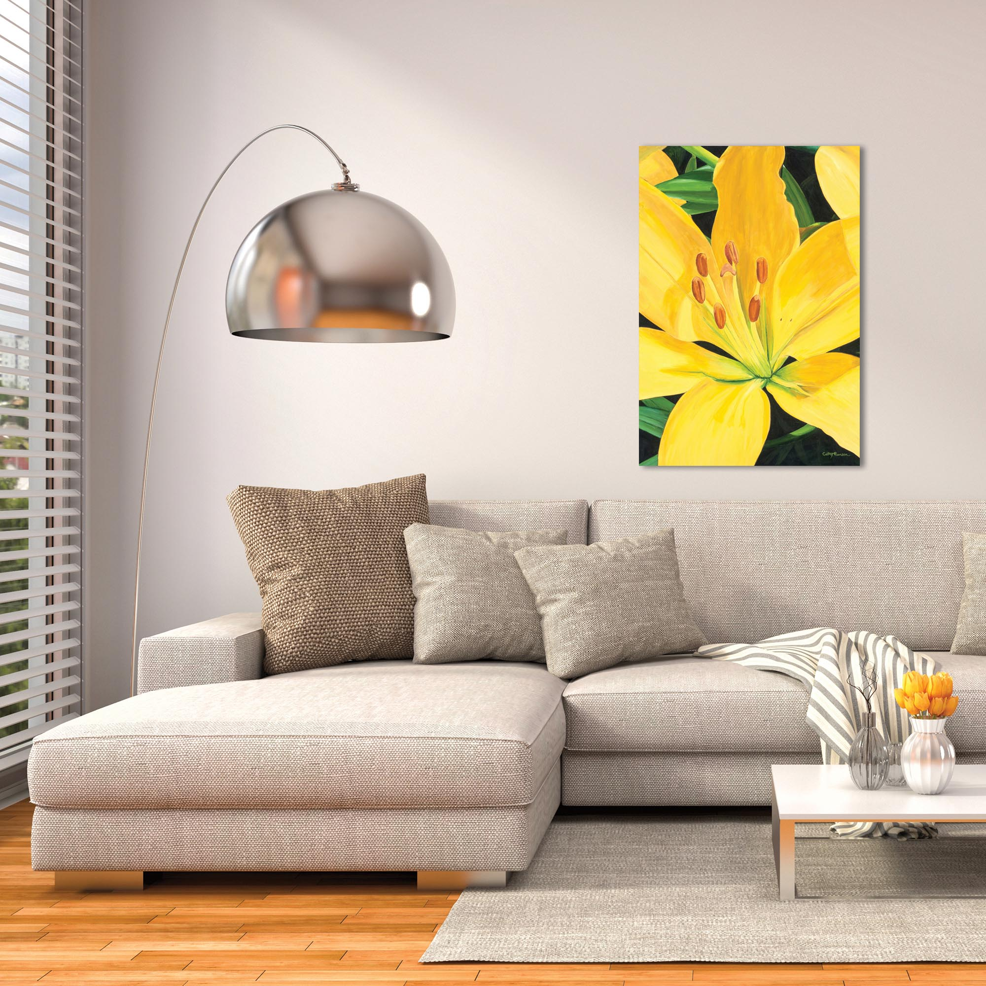 Traditional Wall Art 'Heart of a Yellow Lily' - Floral Decor on Metal or Plexiglass - Lifestyle View