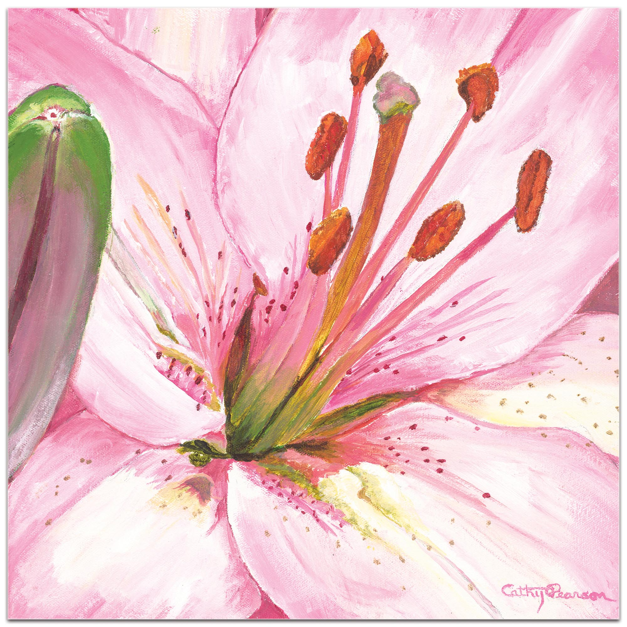 Traditional Wall Art 'Heart of a Pink Lily' - Floral Decor on Metal or Plexiglass - Image 2