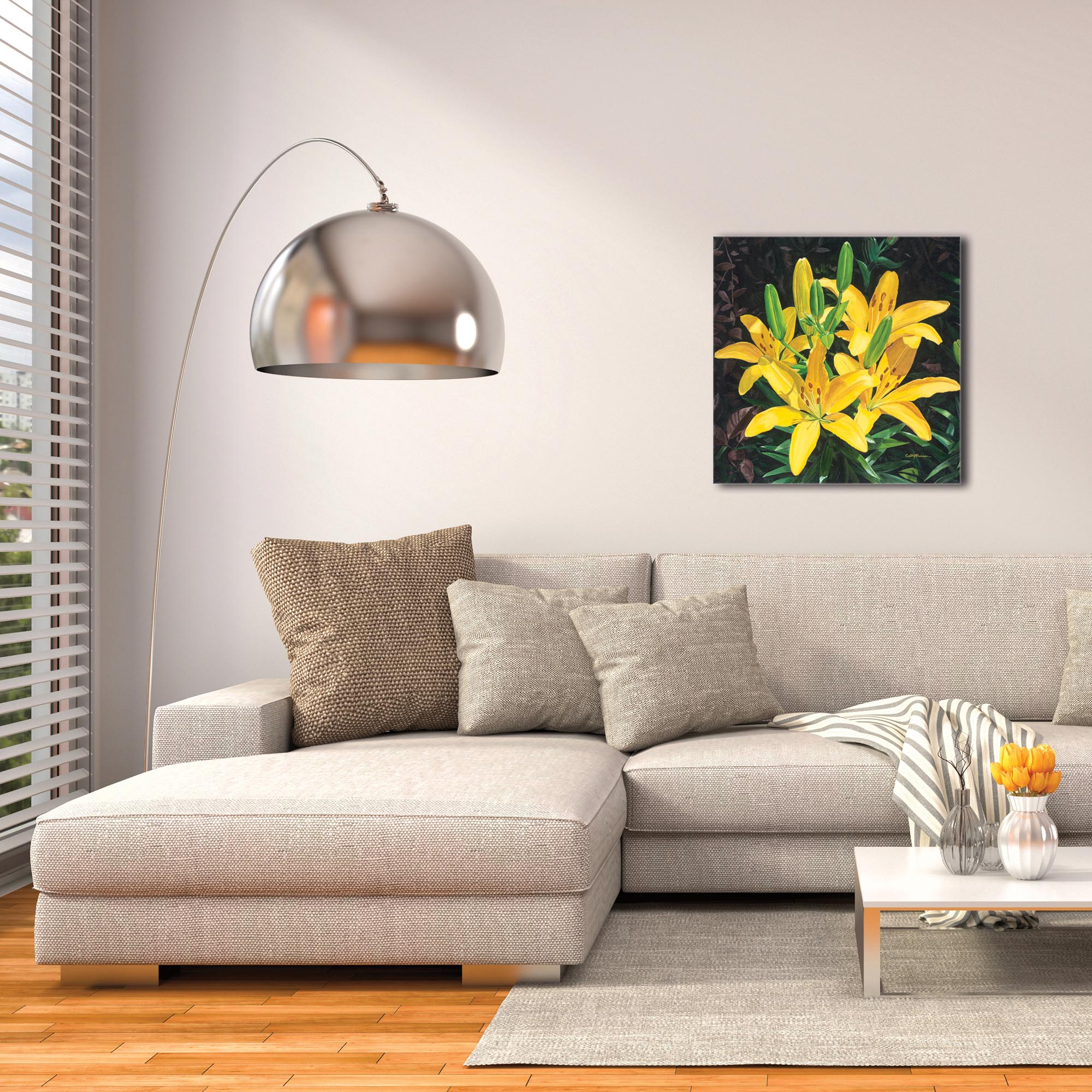 Traditional Wall Art 'Yellow Lilies' - Floral Decor on Metal or Plexiglass - Image 3