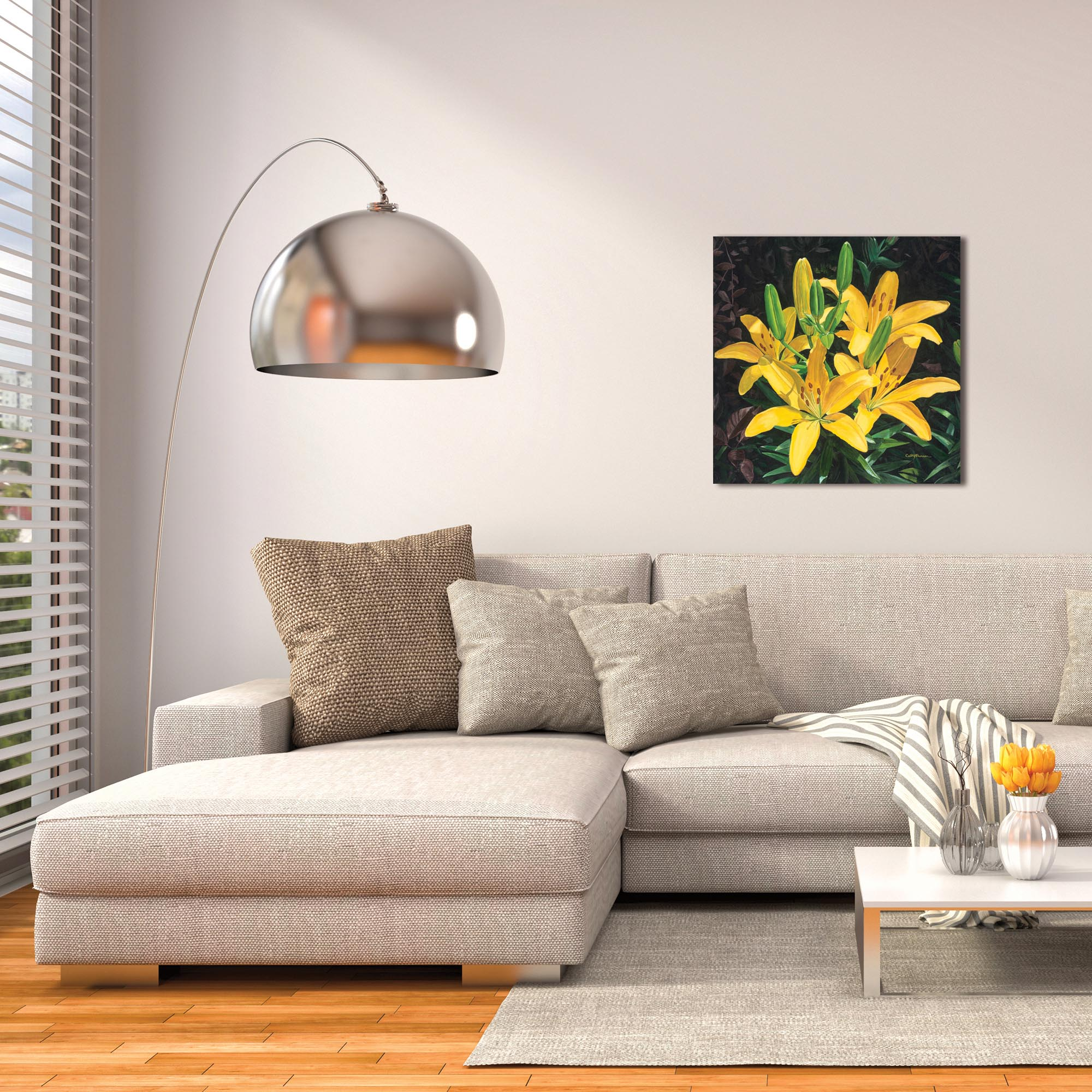 Traditional Wall Art 'Yellow Lilies' - Floral Decor on Metal or Plexiglass - Lifestyle View