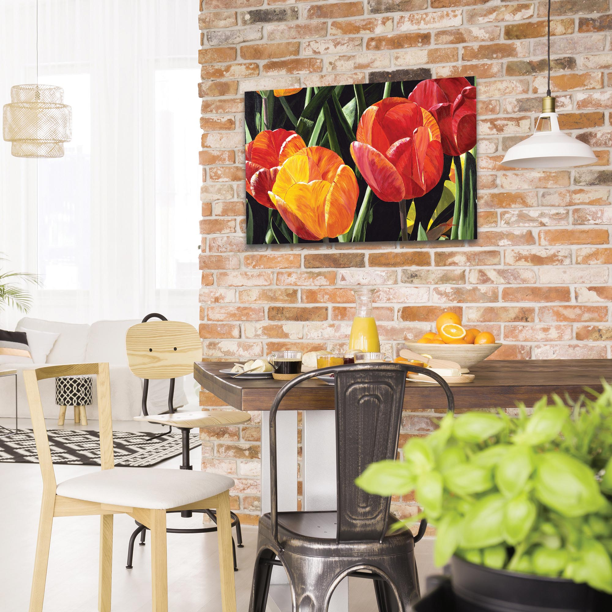 Traditional Wall Art 'Tulip Field' - Floral Decor on Metal or Plexiglass - Lifestyle View