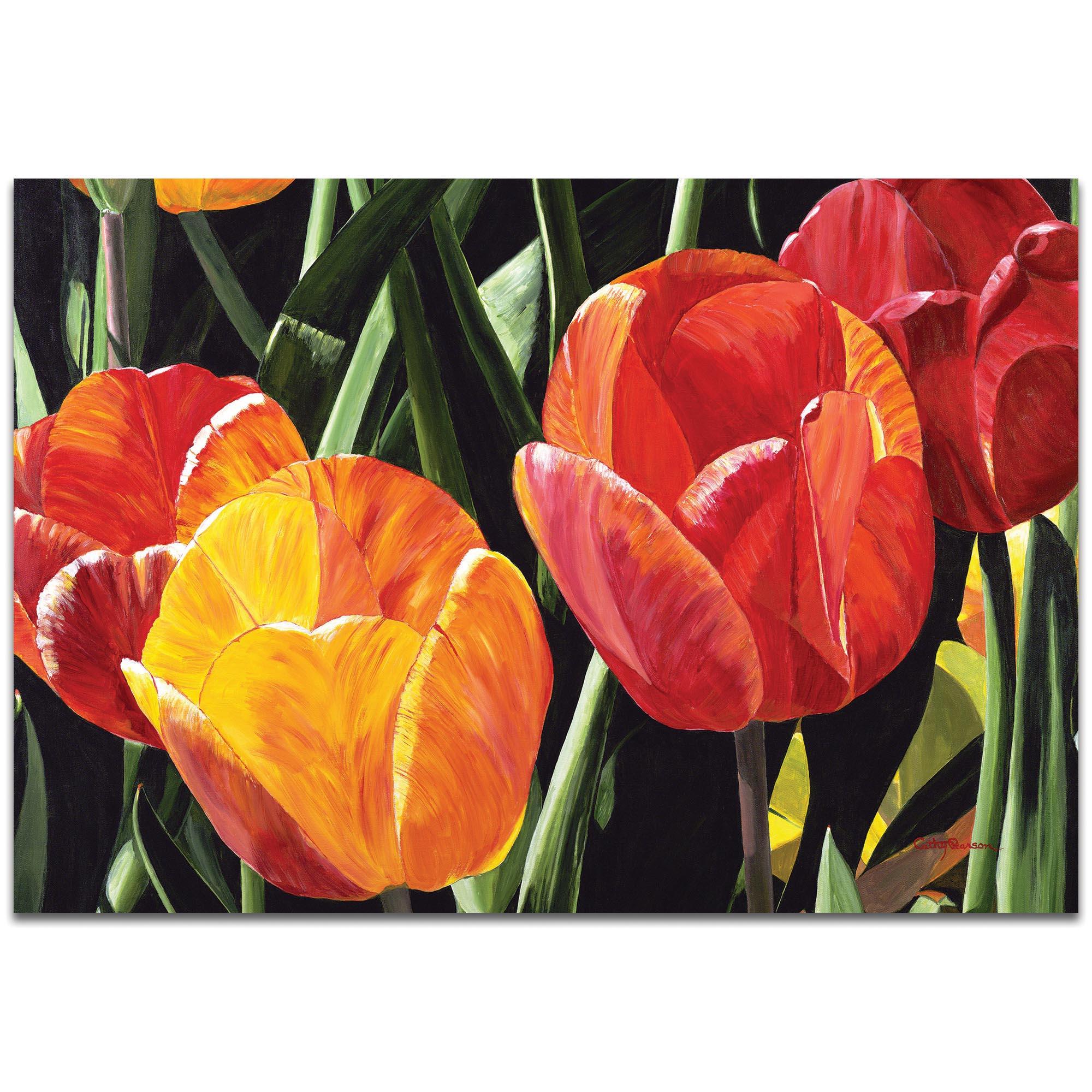 Traditional Wall Art 'Tulip Field' - Floral Decor on Metal or Plexiglass