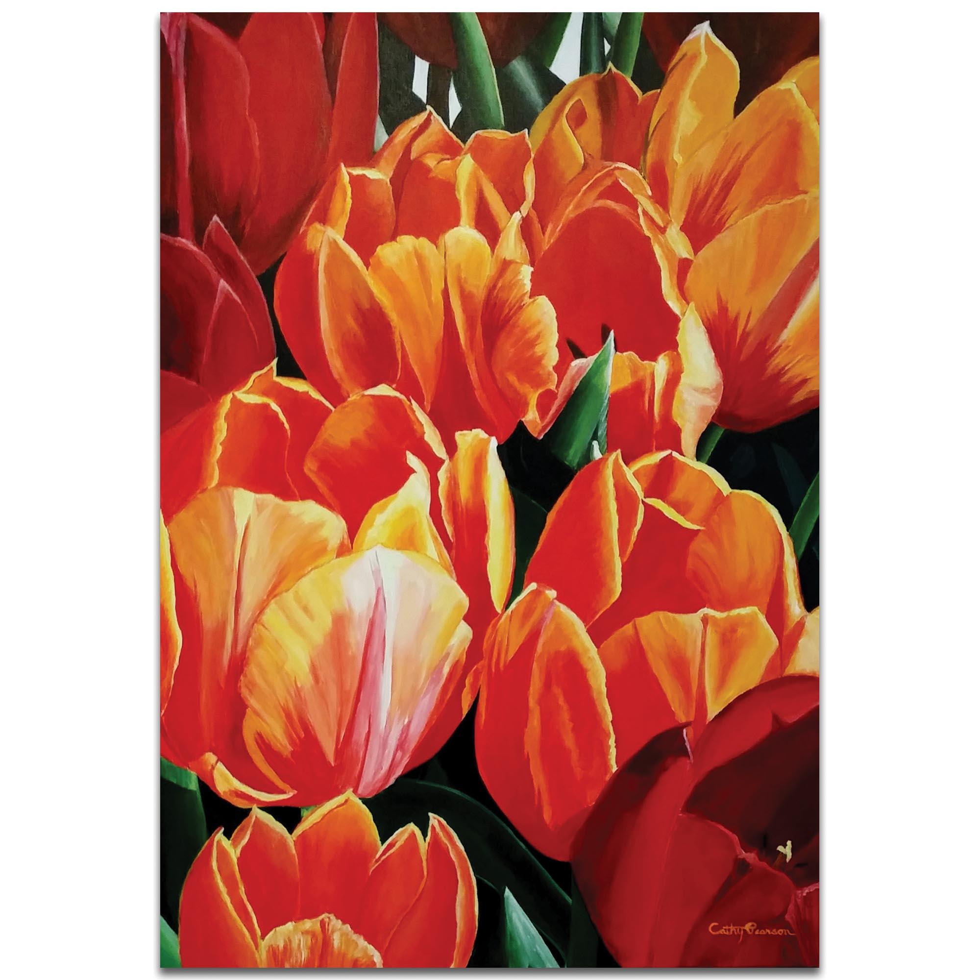 Traditional Wall Art 'Tulip Bonanza' - Floral Decor on Metal or Plexiglass
