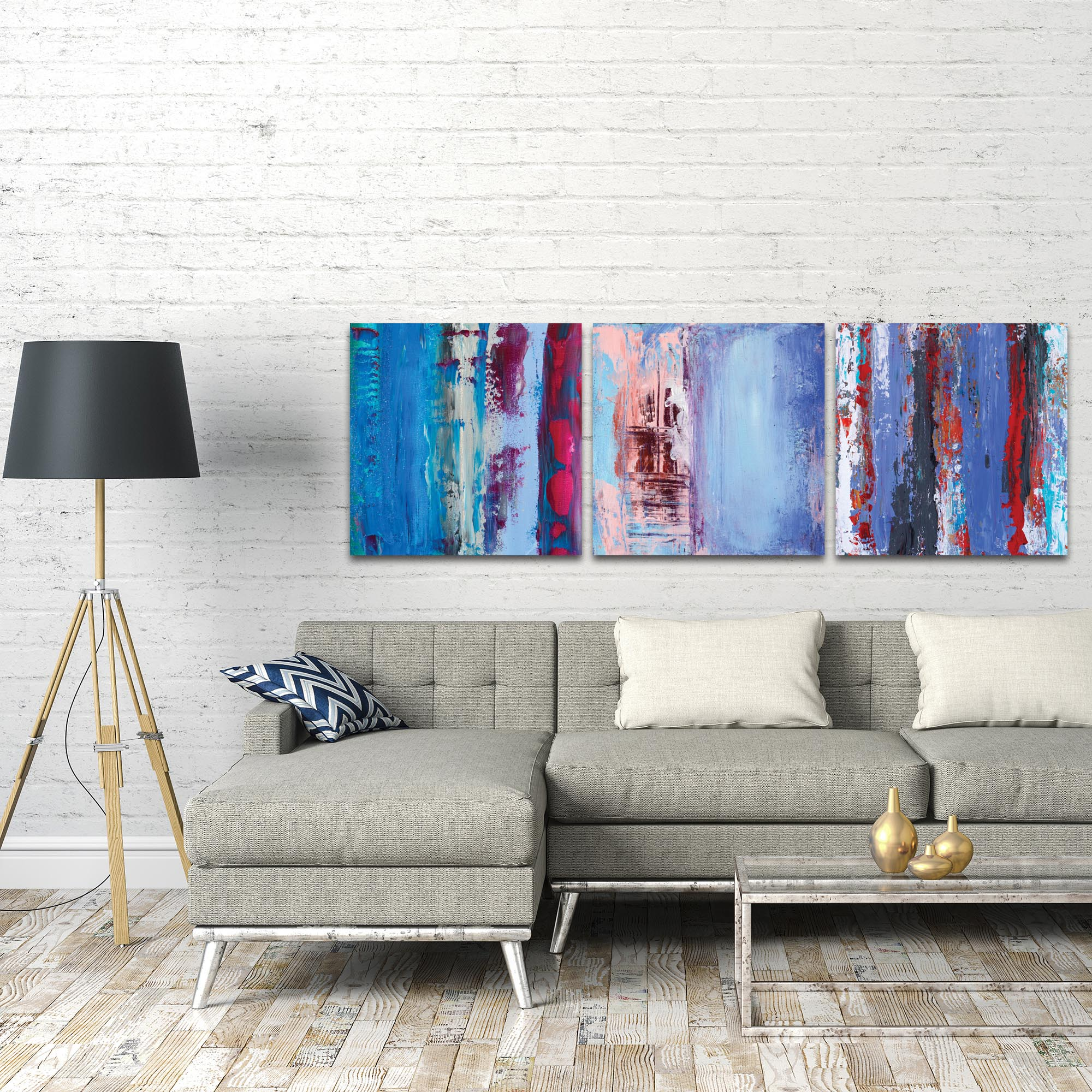 Abstract Wall Art 'Urban Triptych 1 Large' - Urban Decor on Metal or Plexiglass - Lifestyle View