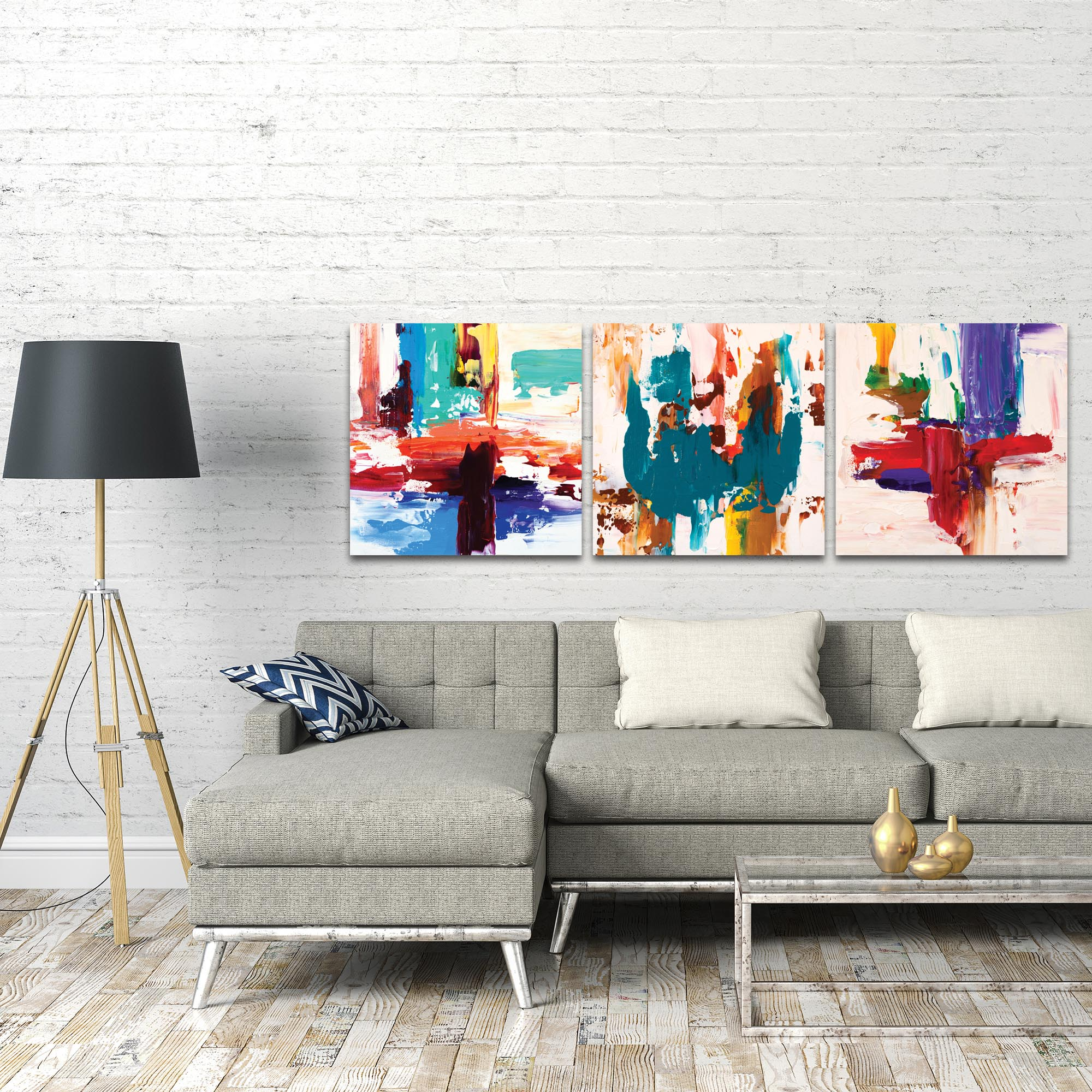Abstract Wall Art 'Urban Triptych 2 Large' - Urban Decor on Metal or Plexiglass - Lifestyle View