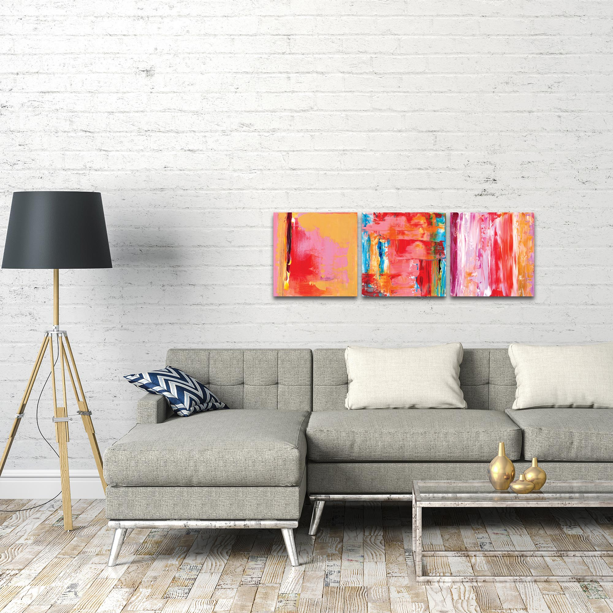 Abstract Wall Art 'Urban Triptych 3' - Urban Decor on Metal or Plexiglass - Lifestyle View