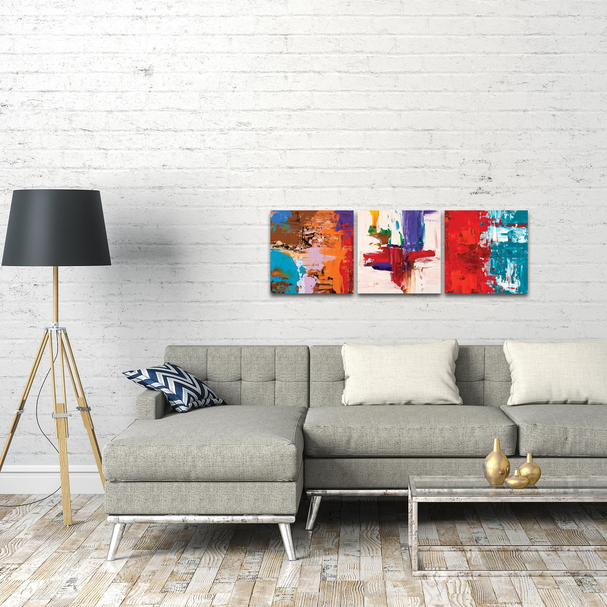 Abstract Wall Art 'Urban Triptych 5' - Urban Decor on Metal or Plexiglass - Lifestyle View