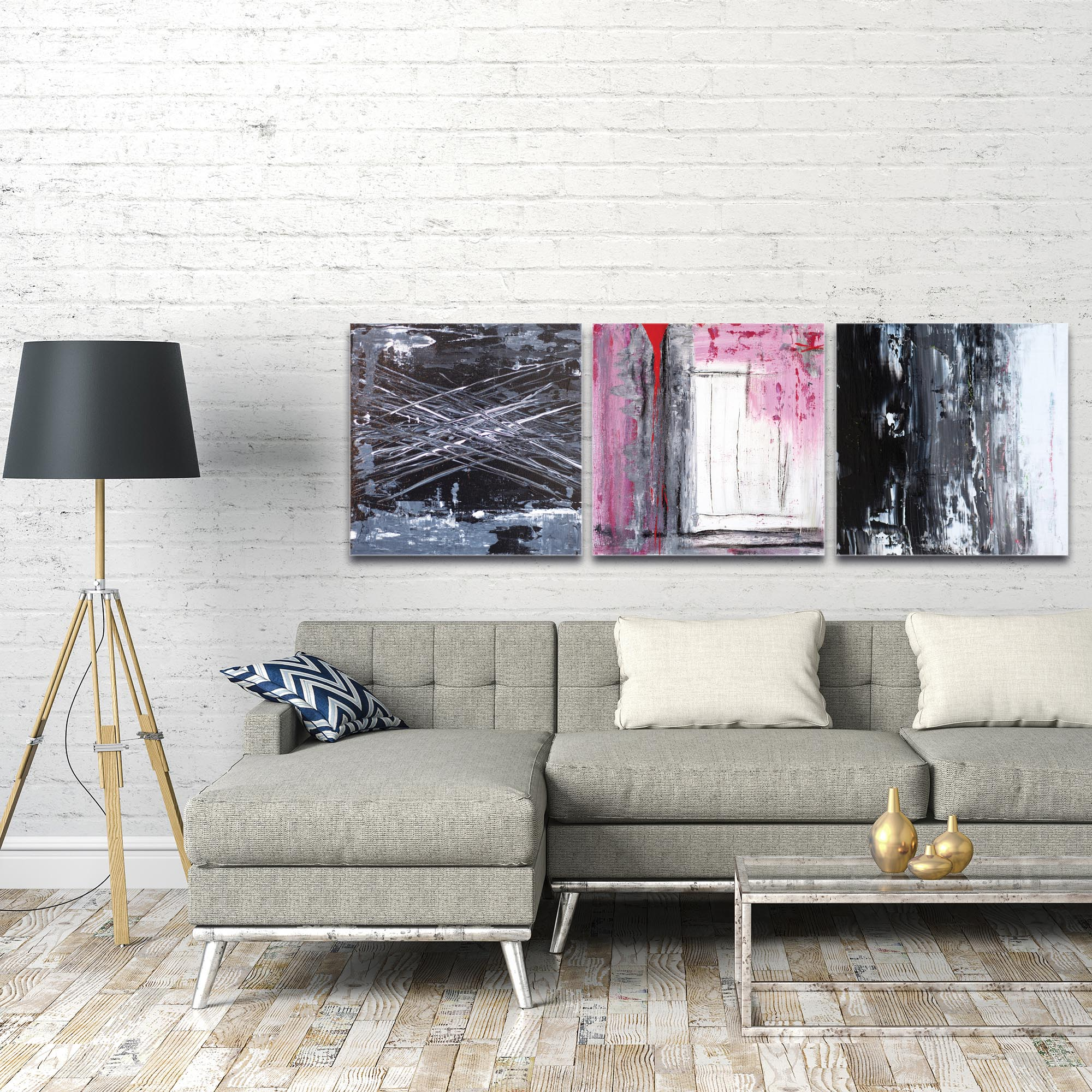 Abstract Wall Art 'Urban Triptych 6 Large' - Urban Decor on Metal or Plexiglass - Image 3