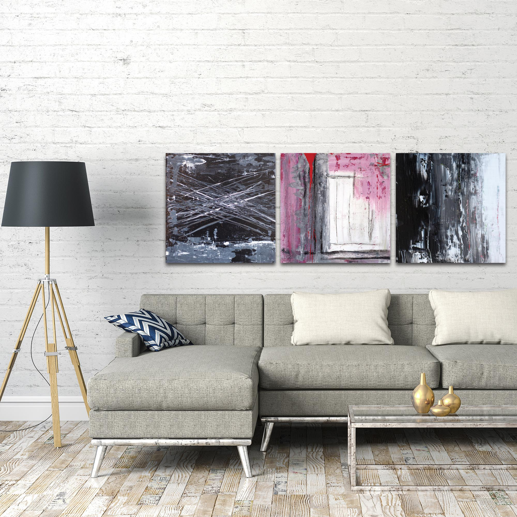 Abstract Wall Art 'Urban Triptych 6 Large' - Urban Decor on Metal or Plexiglass - Lifestyle View