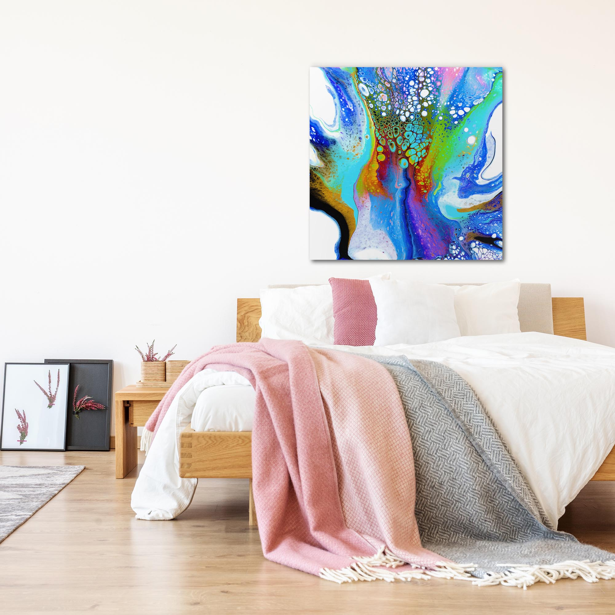 Peacock by Elana Reiter - Abstract Wall Art, Modern Home Decor (36in x 36in) - Lifestyle View