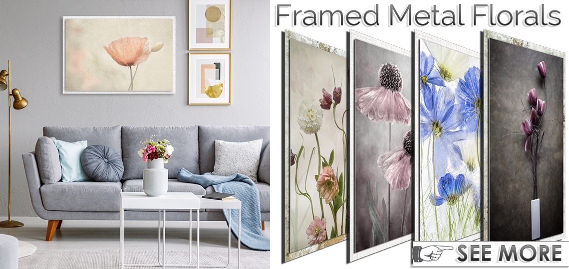 Framed, Contemporary Floral Metal Art