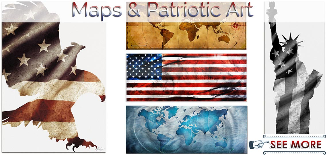 World Map & Patriotic Wall Art | Modern Metal Artwork