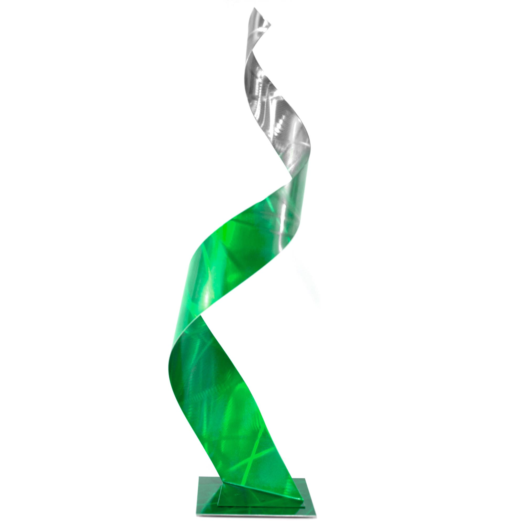 Helena Martin 'Crystal Green Sculpture' 10in x 34in Abstract Metal Art on Ground and Painted Metal