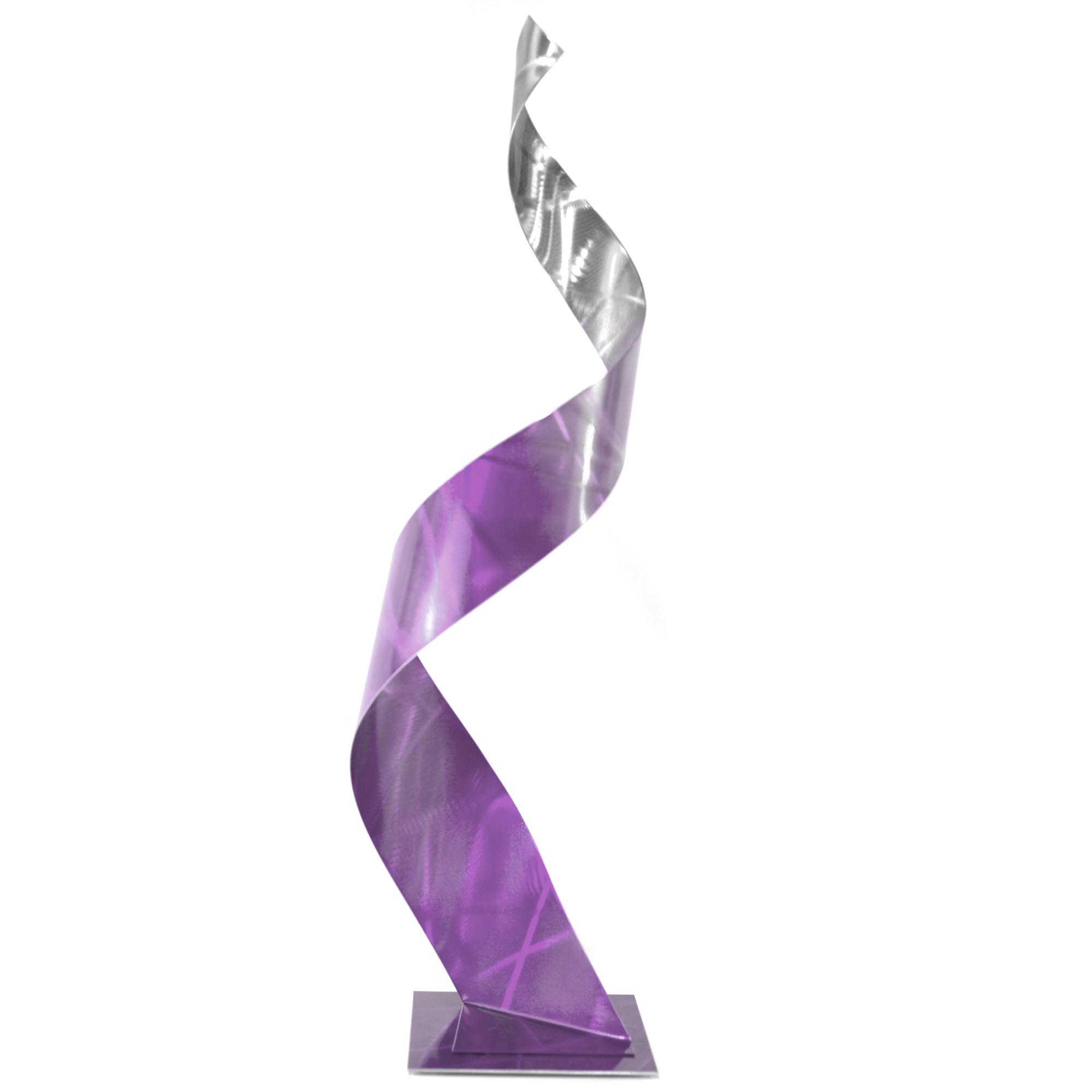 Helena Martin 'Crystal Purple Sculpture' 10in x 34in Abstract Metal Art on Ground and Painted Metal