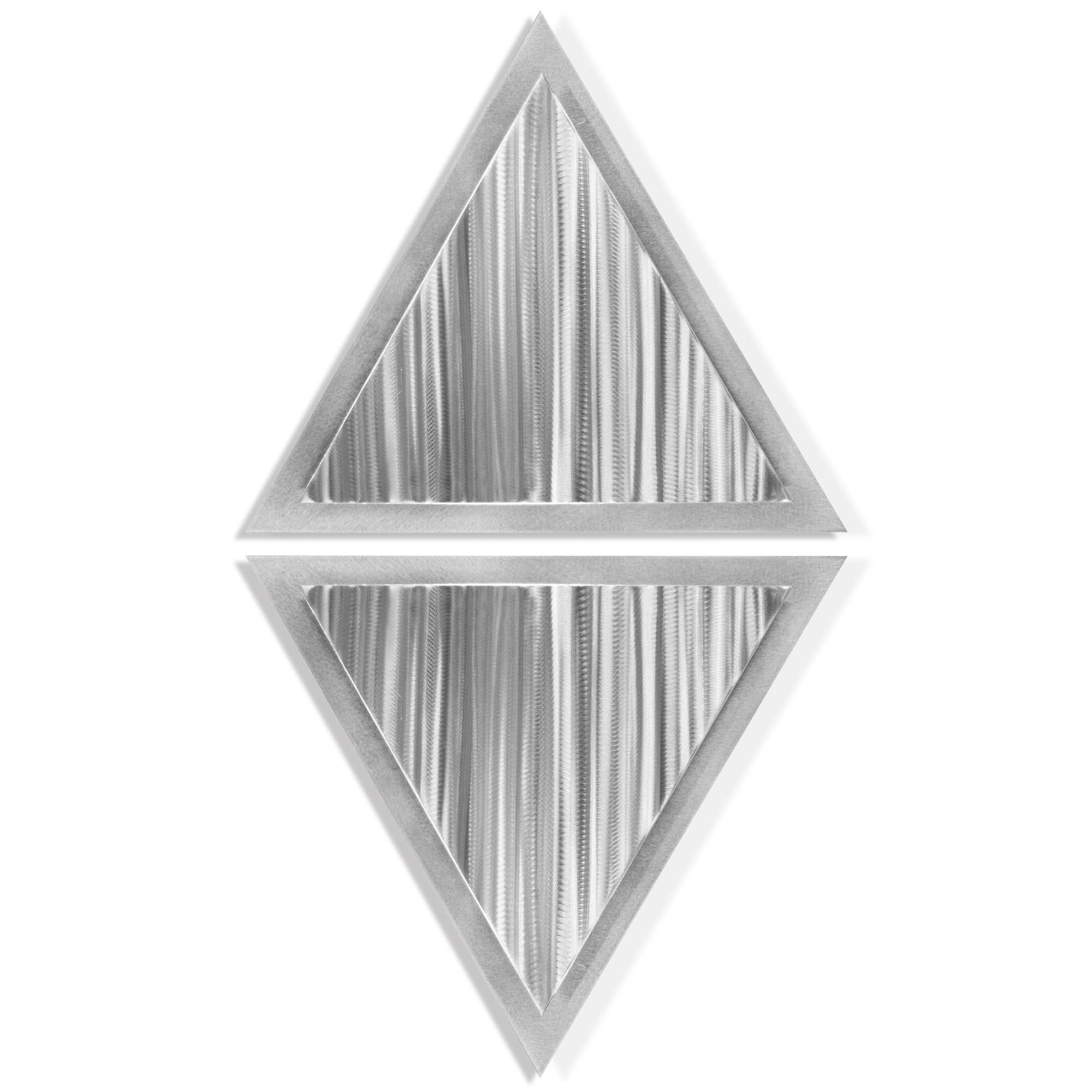 Helena Martin 'Linear Diamond' 15in x 28in Modern Metal Art on Ground Metal