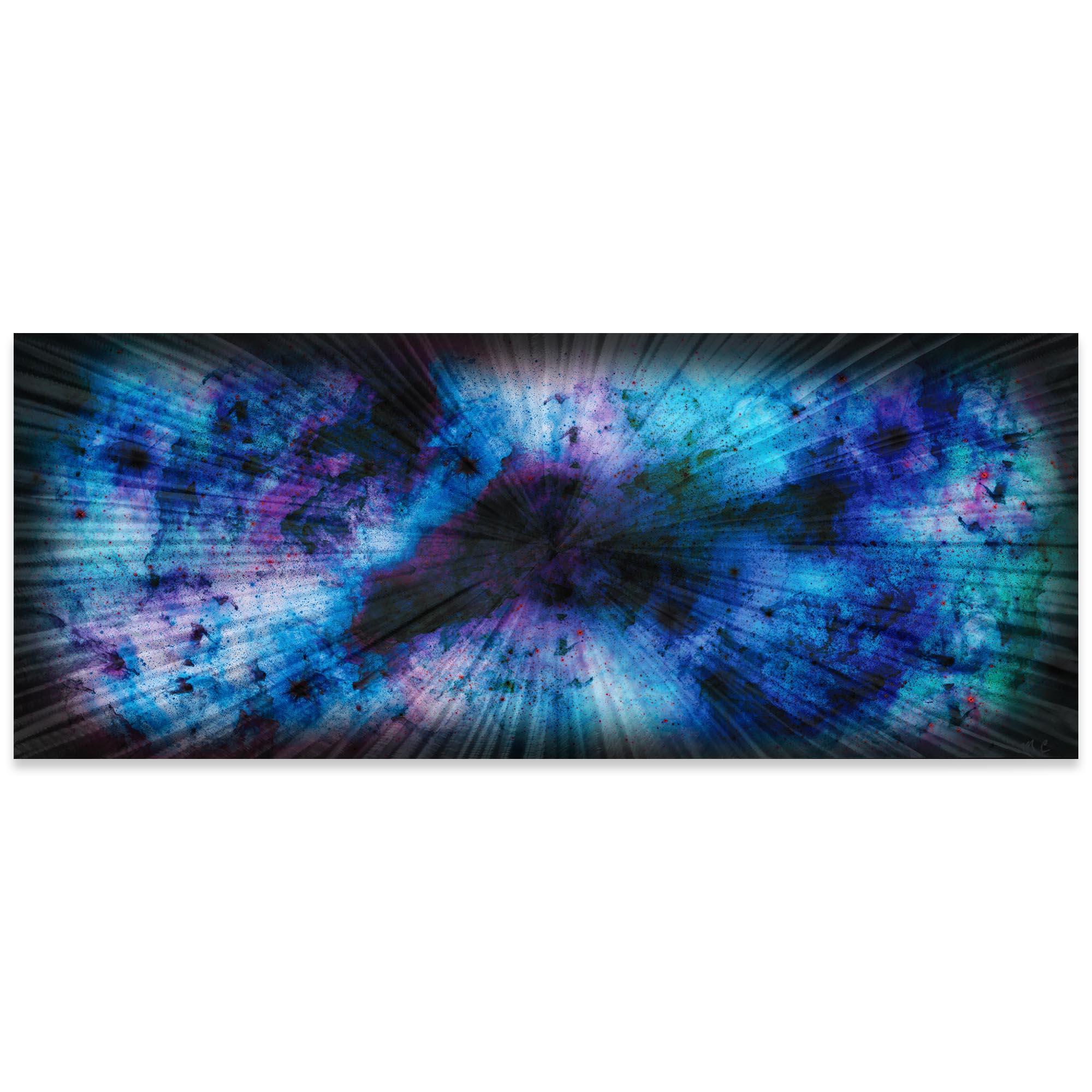 Helena Martin 'Blue Nebula' 60in x 24in Original Abstract Art on Ground and Colored Metal