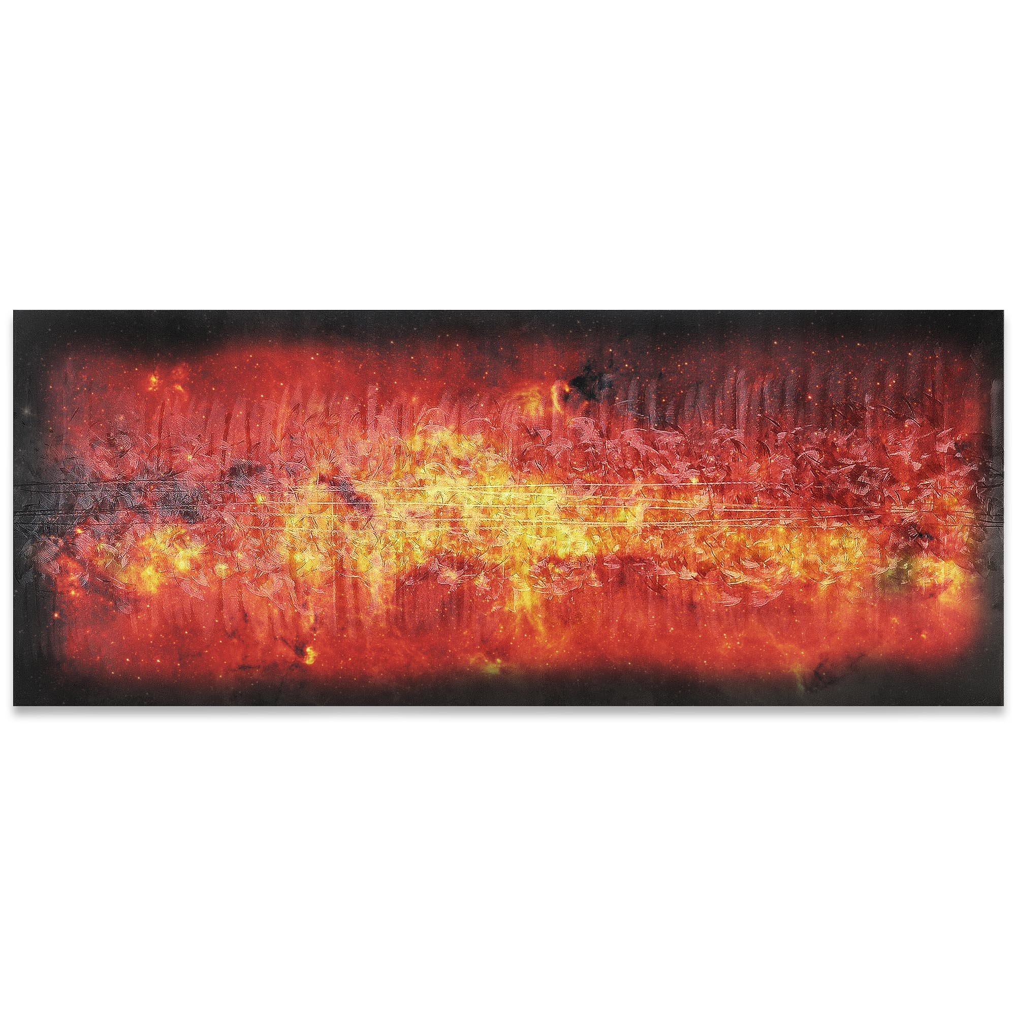 Helena Martin 'Milky Way Flame' 60in x 24in Original Abstract Art on Ground and Colored Metal