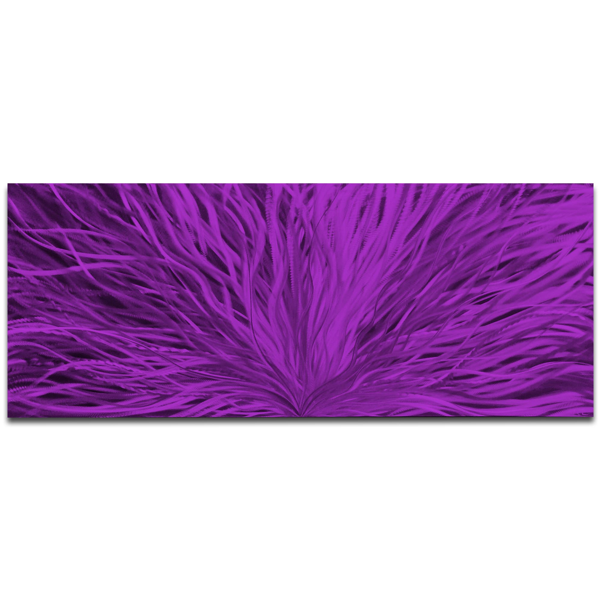 Helena Martin 'Blooming Purple' 60in x 24in Original Abstract Art on Ground and Painted Metal