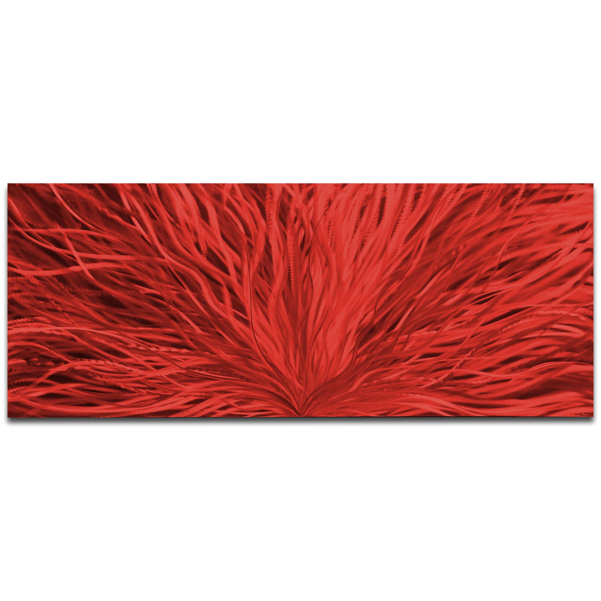 Helena Martin 'Blooming Red' 60in x 24in Original Abstract Art on Ground and Painted Metal