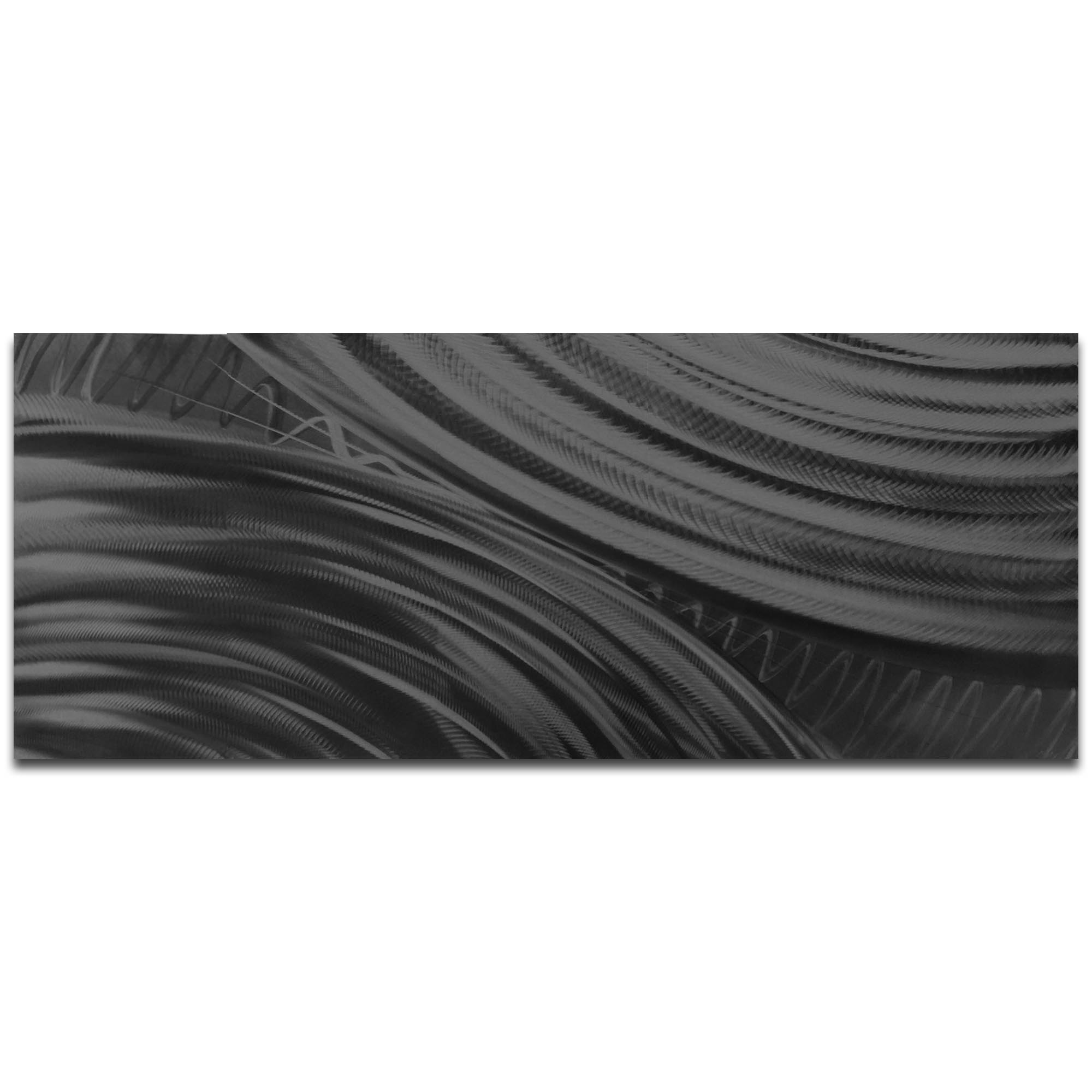 Helena Martin 'Moment of Impact Black' 60in x 24in Original Abstract Art on Ground and Painted Metal