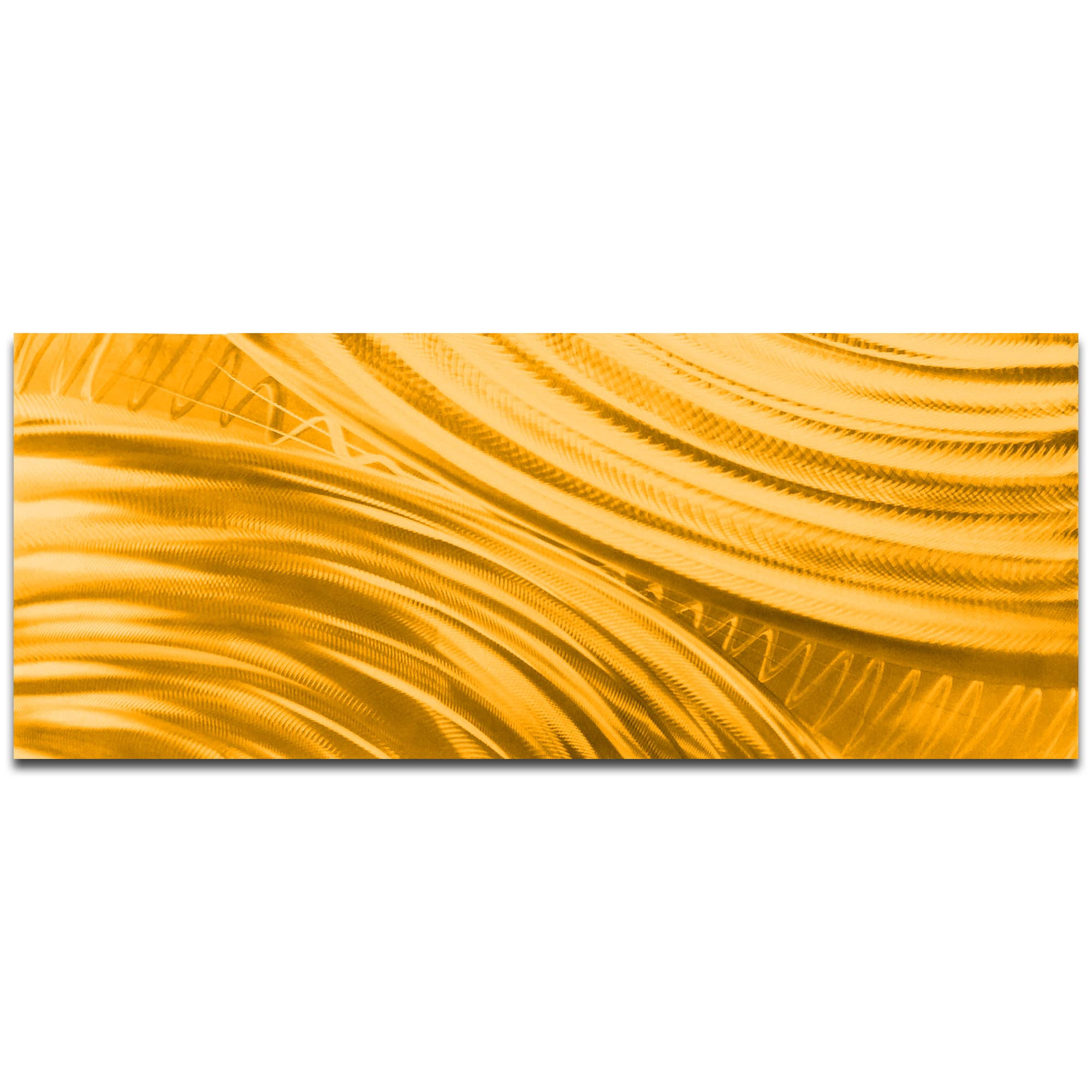 Helena Martin 'Moment of Impact Gold' 60in x 24in Original Abstract Art on Ground and Painted Metal