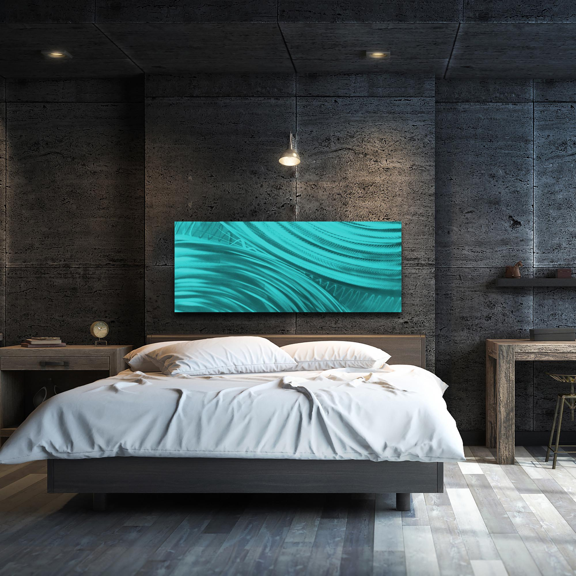 Moment of Impact Teal by Helena Martin - Original Abstract Art on Ground and Painted Metal - Lifestyle View