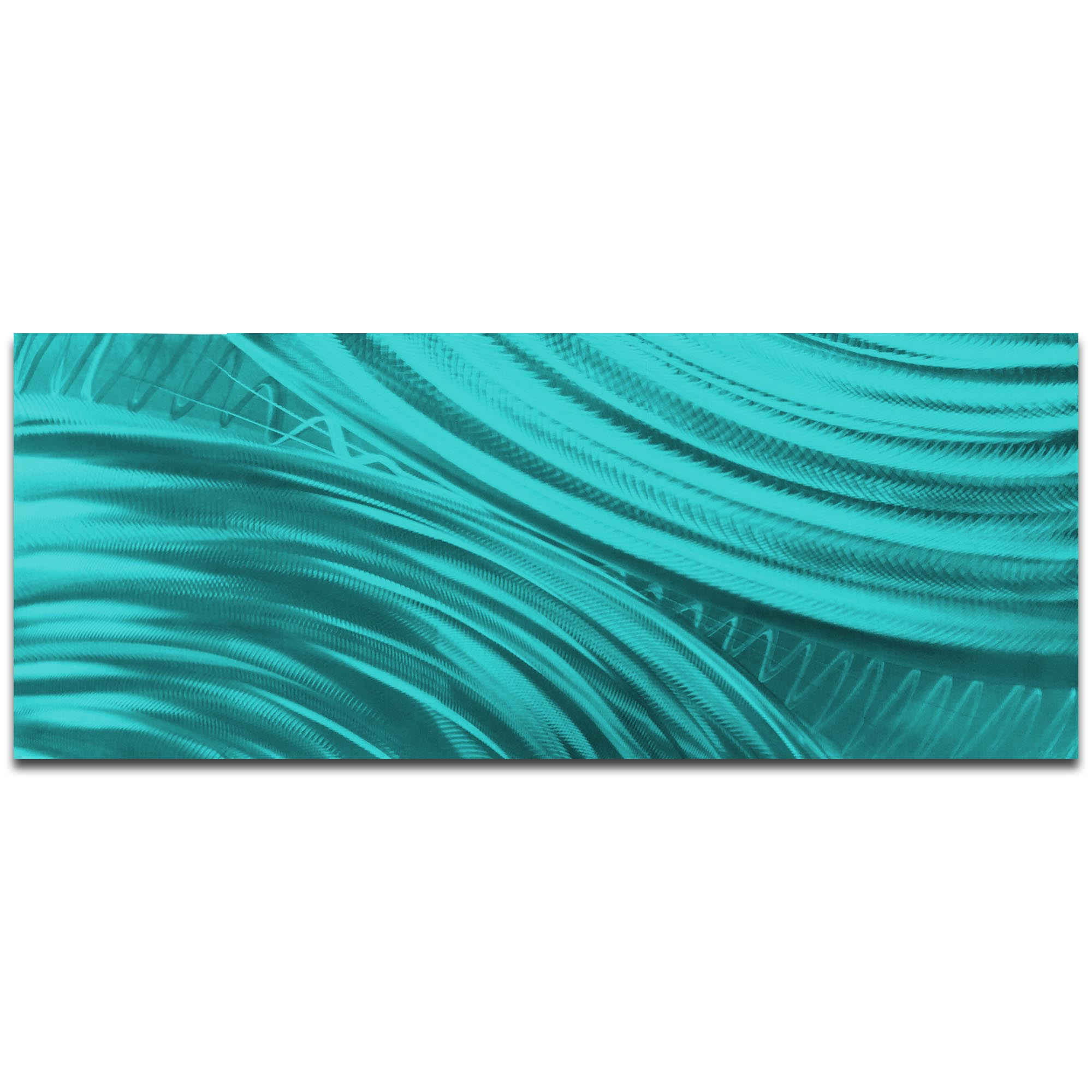 Helena Martin 'Moment of Impact Teal' 60in x 24in Original Abstract Art on Ground and Painted Metal
