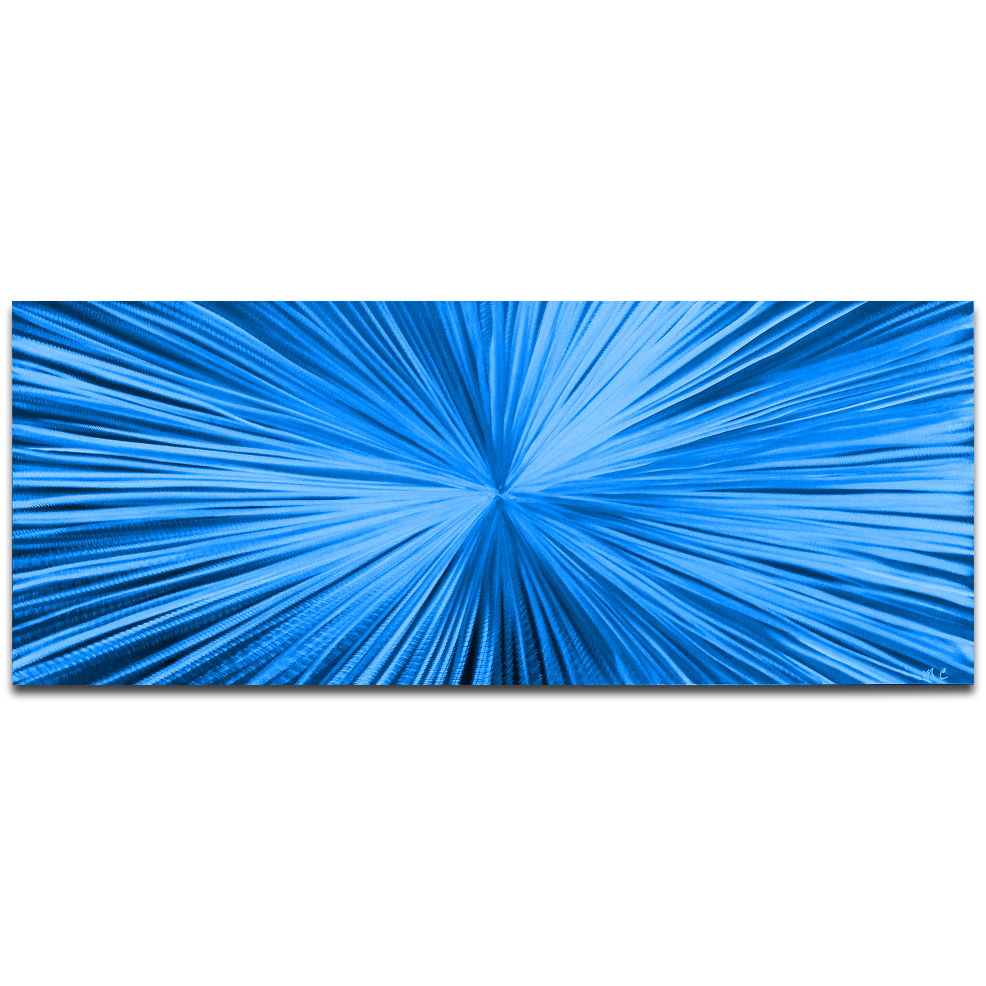 Helena Martin 'Starburst Blue' 60in x 24in Original Abstract Art on Ground and Painted Metal