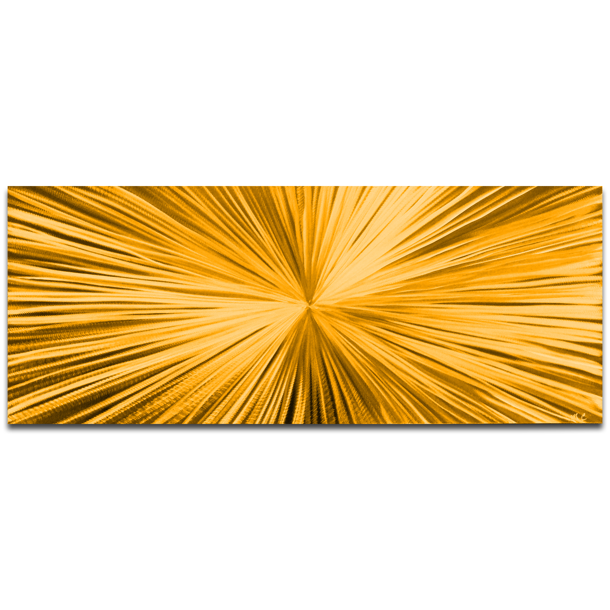 Helena Martin 'Starburst Gold' 60in x 24in Original Abstract Art on Ground and Painted Metal