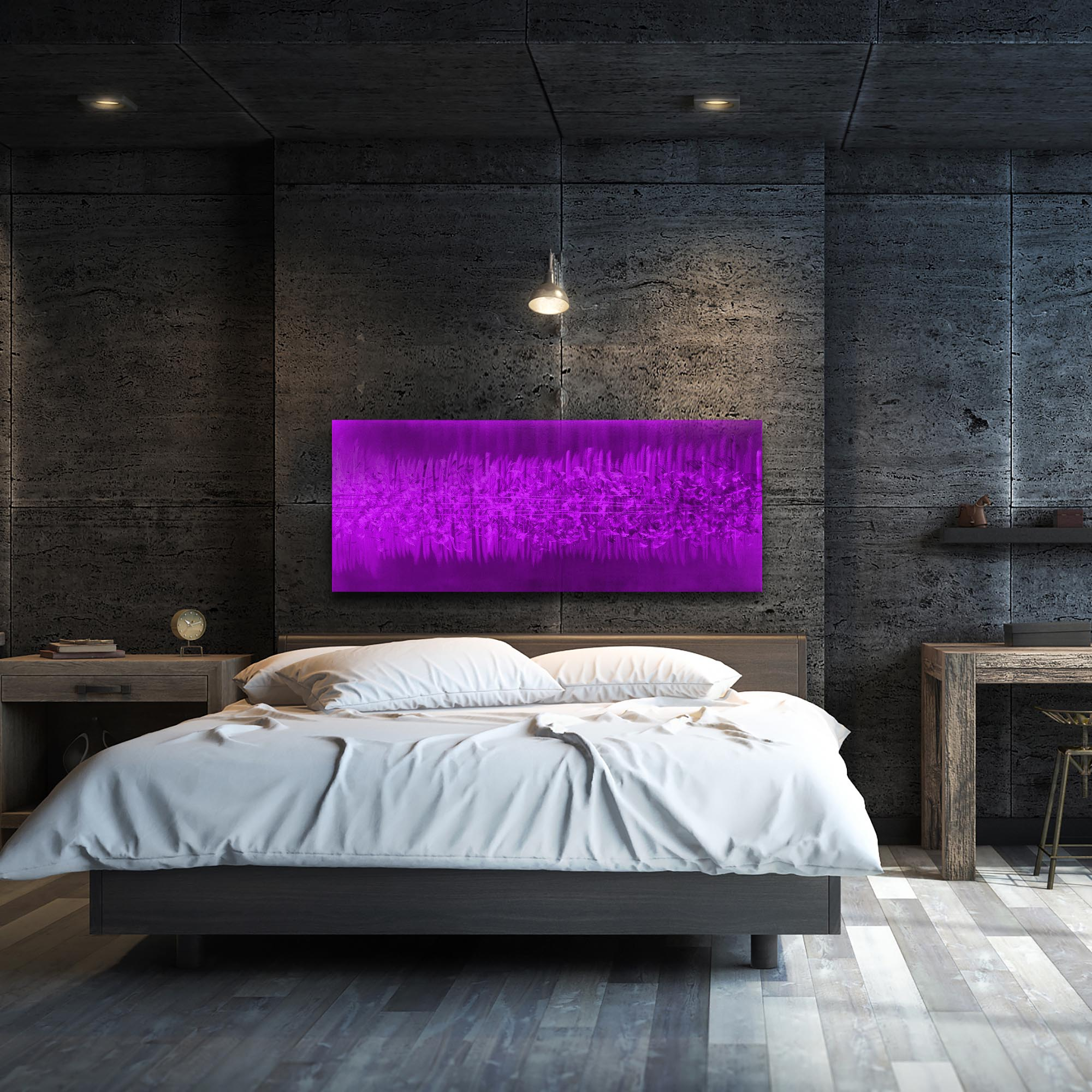 Static Purple by Helena Martin - Original Abstract Art on Ground and Painted Metal - Lifestyle View