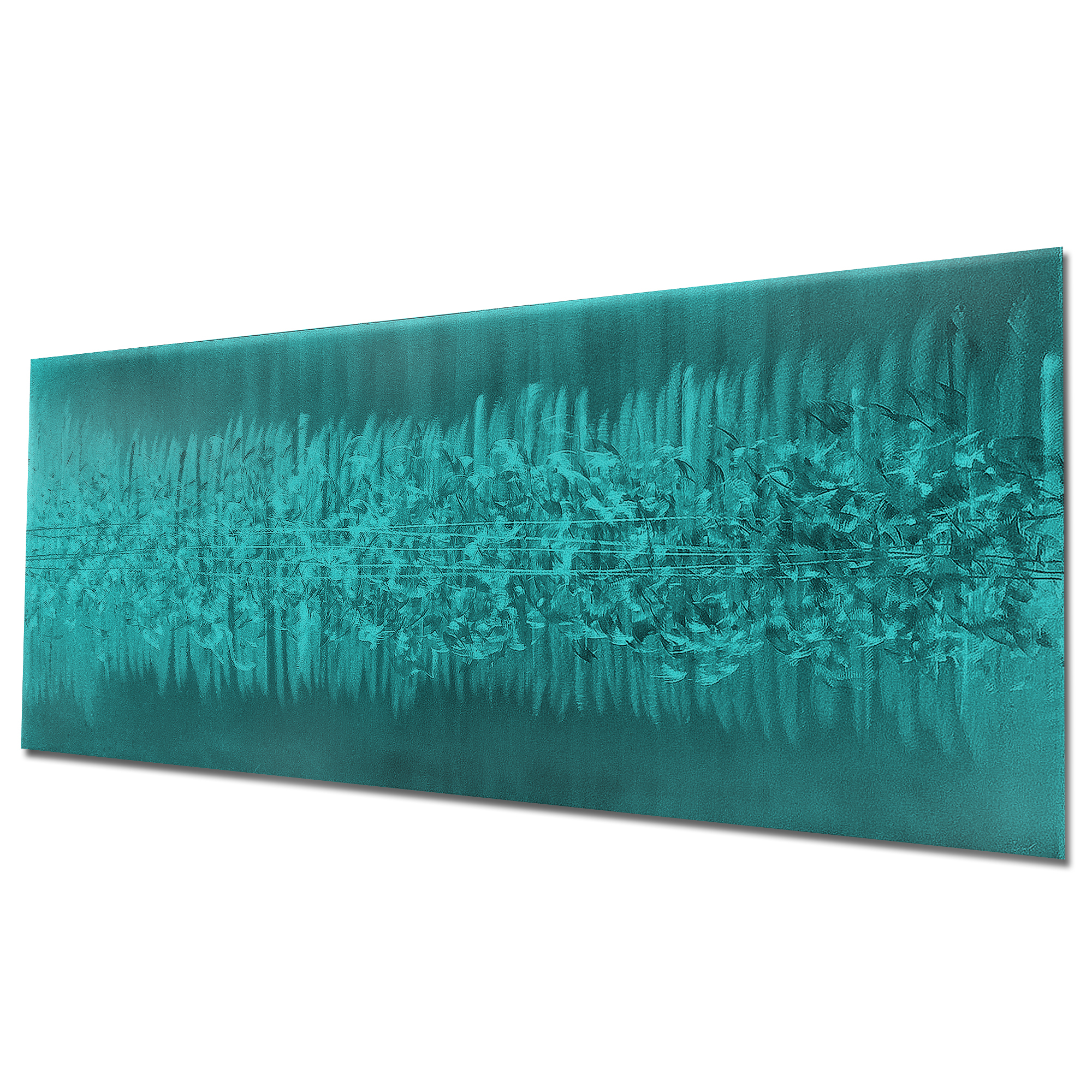 Static Teal by Helena Martin - Original Abstract Art on Ground and Painted Metal - Image 3