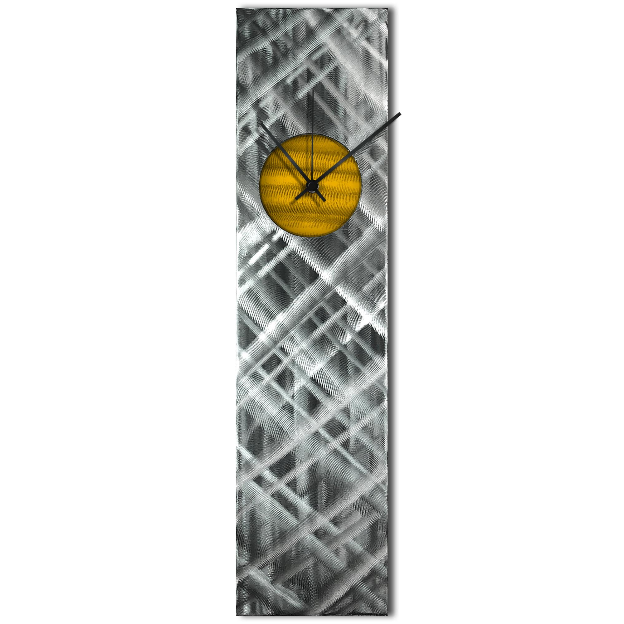 Helena Martin 'Plaid Relief Clock Gold' 6in x 24in Modern Wall Clock on Ground and Painted Metal