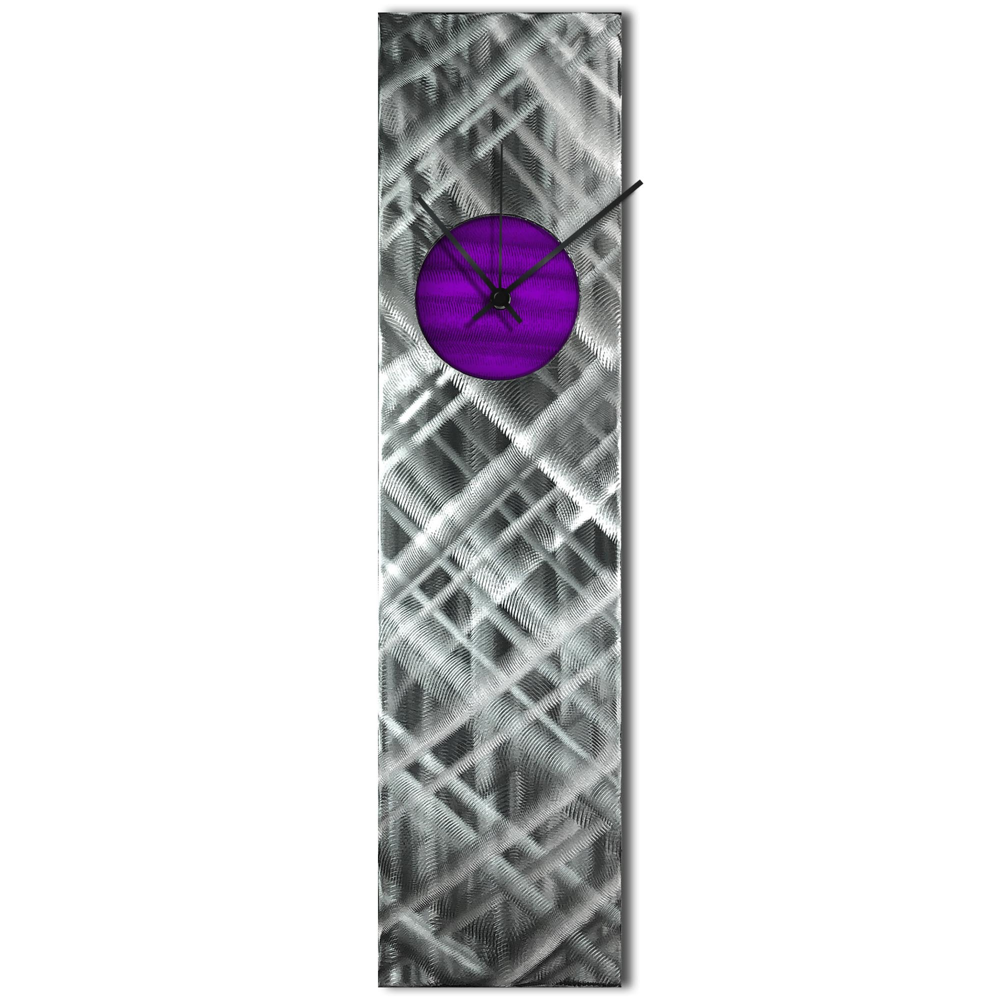 Helena Martin 'Plaid Relief Clock Purple' 6in x 24in Modern Wall Clock on Ground and Painted Metal