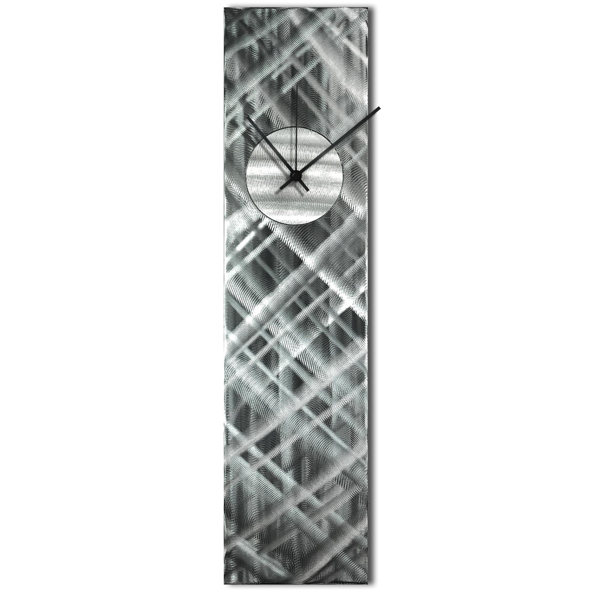 Helena Martin 'Plaid Relief Clock Silver' 6in x 24in Modern Wall Clock on Ground and Painted Metal