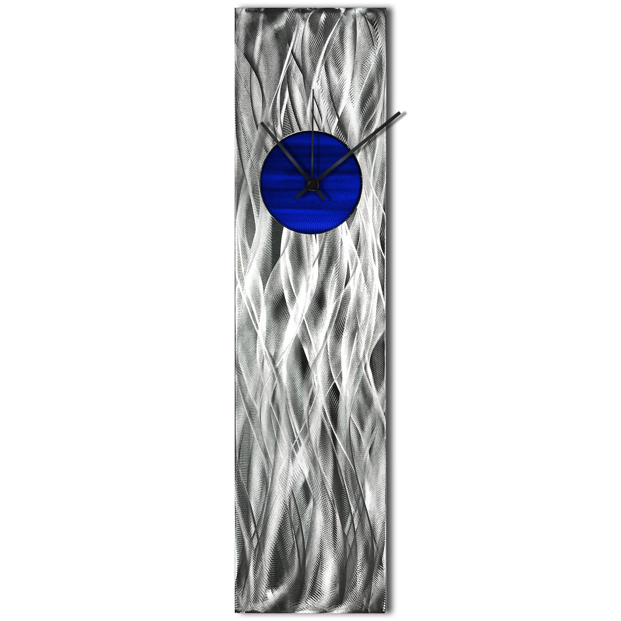 Helena Martin 'Waves Relief Clock Blue' 6in x 24in Modern Wall Clock on Ground and Painted Metal
