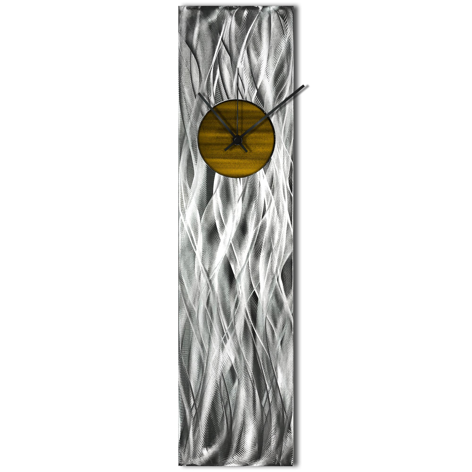 Helena Martin 'Waves Relief Clock Gold' 6in x 24in Modern Wall Clock on Ground and Painted Metal