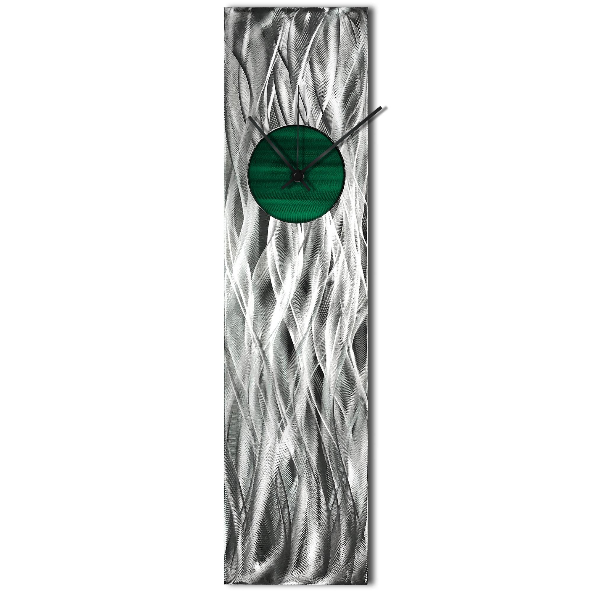 Helena Martin 'Waves Relief Clock Green' 6in x 24in Modern Wall Clock on Ground and Painted Metal