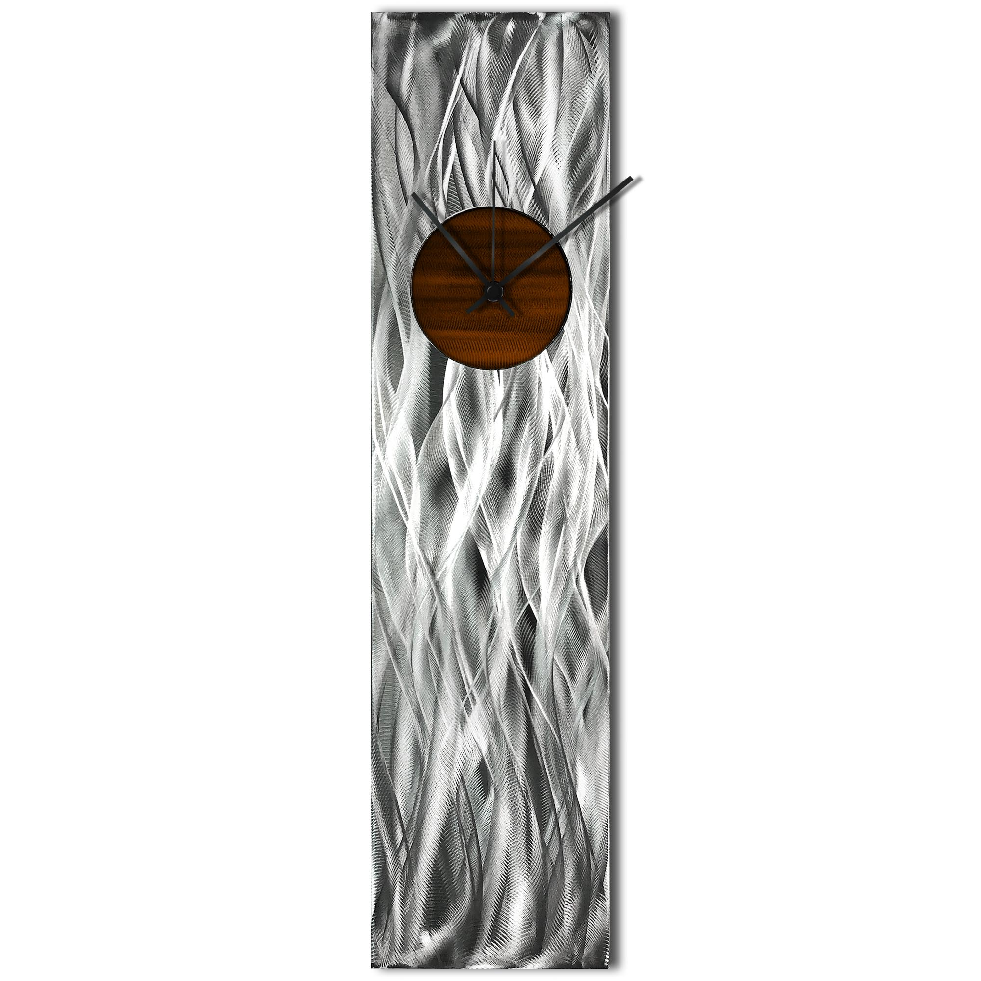 Helena Martin 'Waves Relief Clock Root Beer' 6in x 24in Modern Wall Clock on Ground and Painted Metal