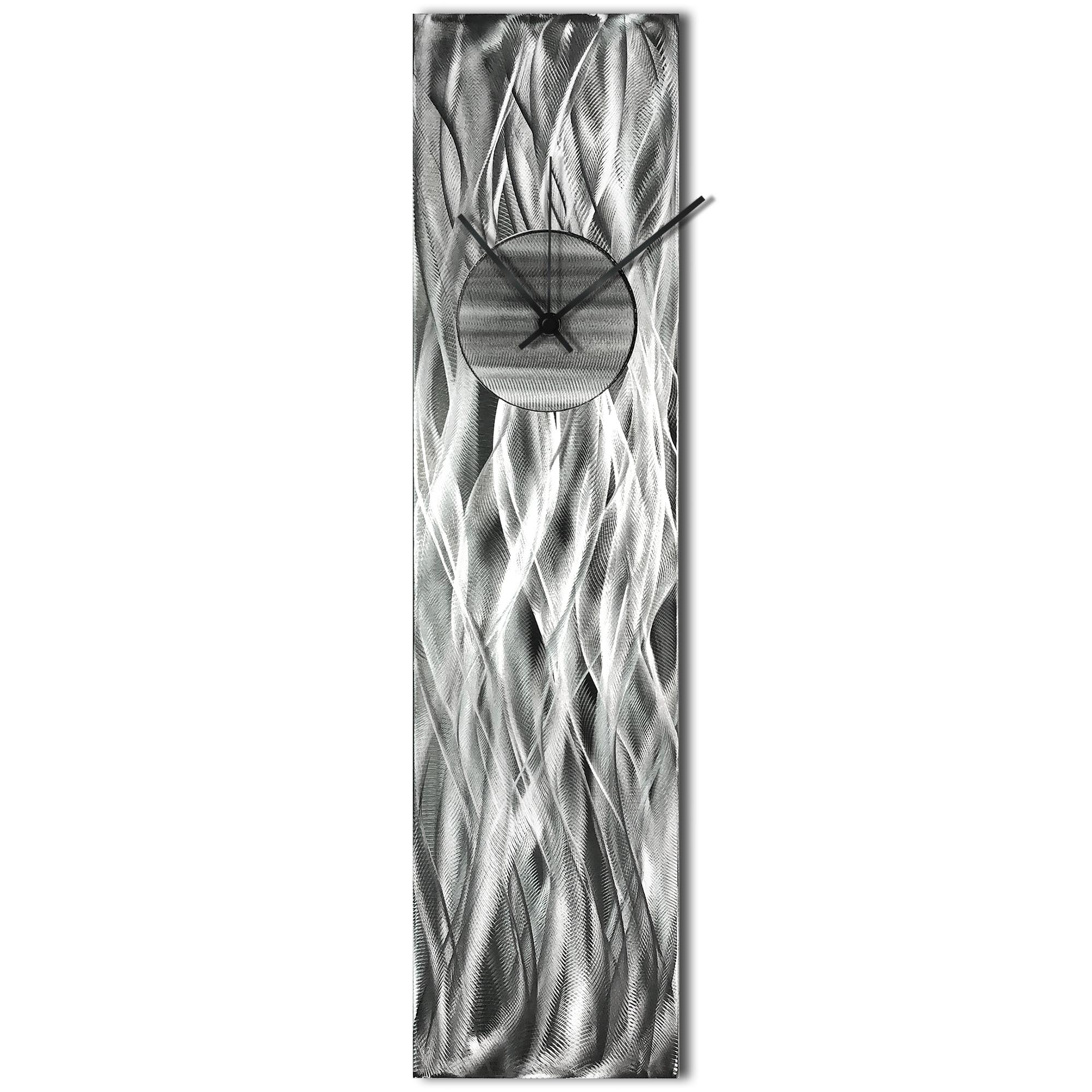Helena Martin 'Waves Relief Clock Silver' 6in x 24in Modern Wall Clock on Ground and Painted Metal